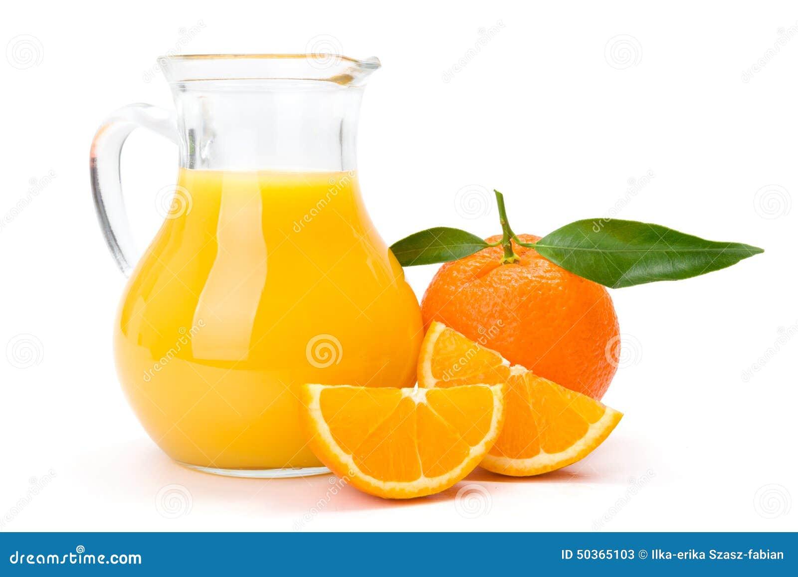 Orange frukt och tillbringare av fruktsaft