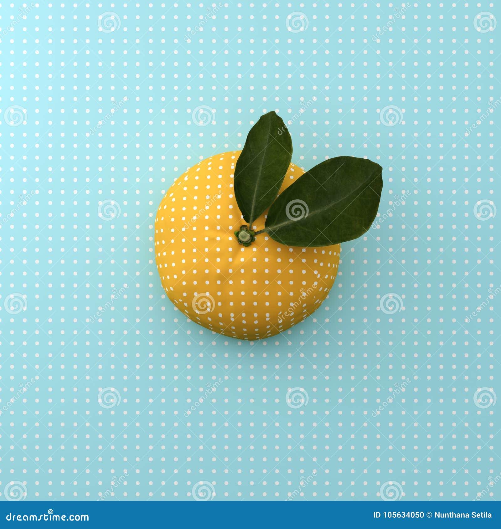 Orange fruktprick på bakgrund för punktmodellblått minsta idé