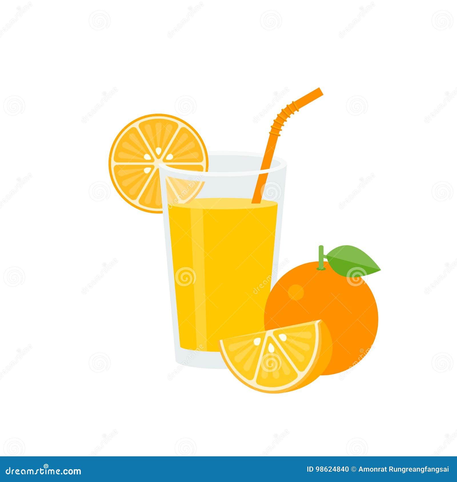 Orange fruktsaft i exponeringsglas med grönt sugrör och moget