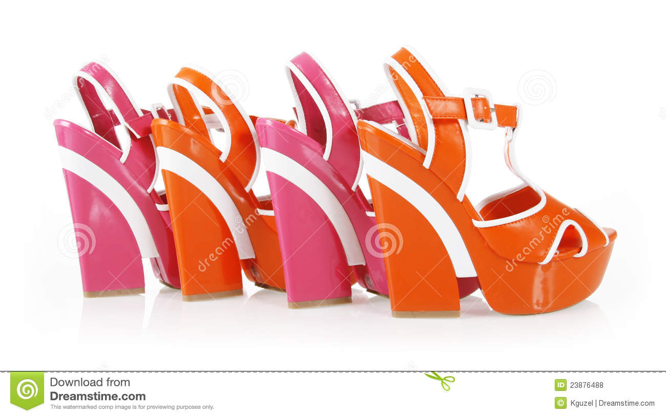 Orange and fuchsia colors platform shoes