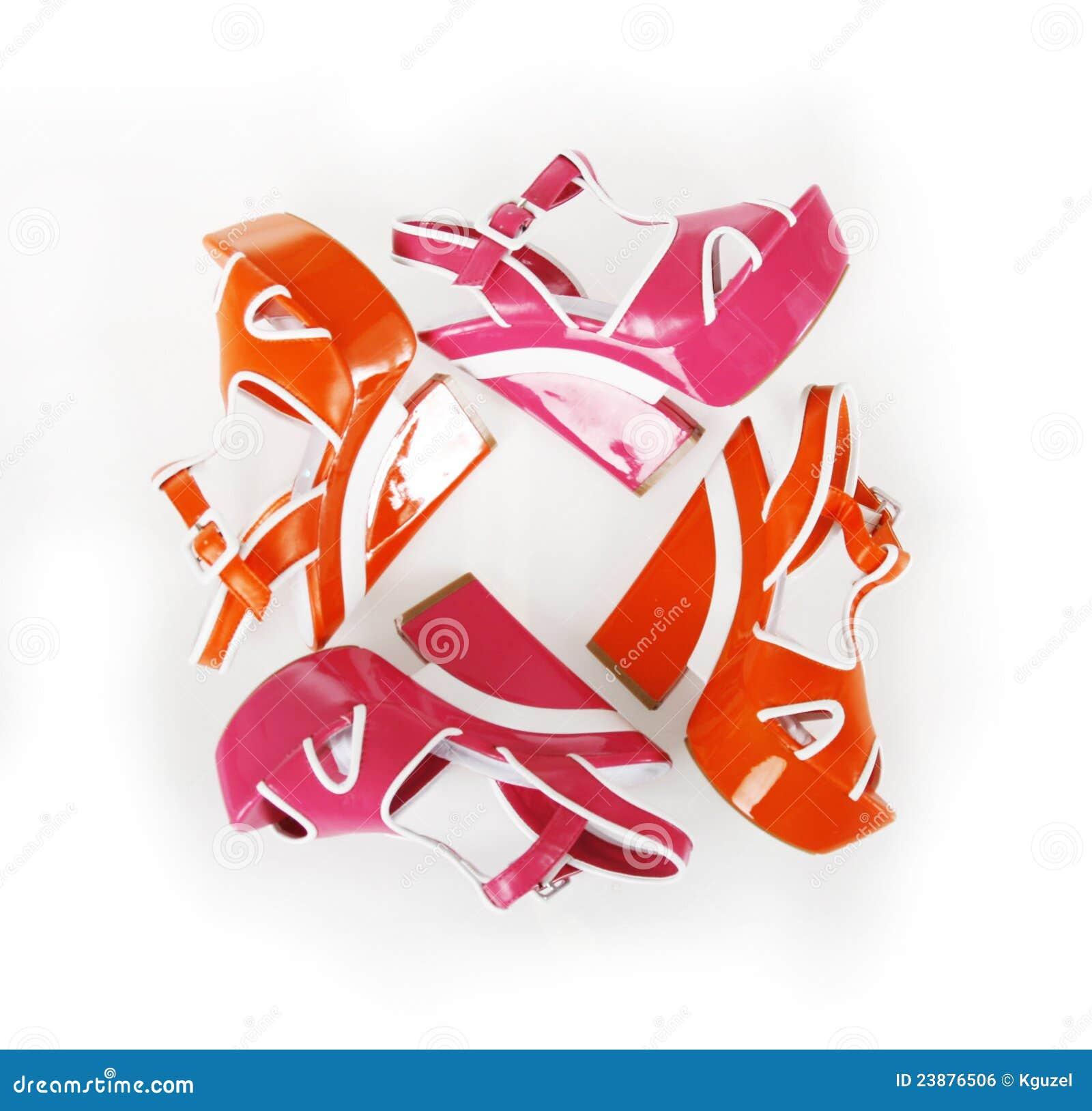 Orange and fuchsia colors platform shoes