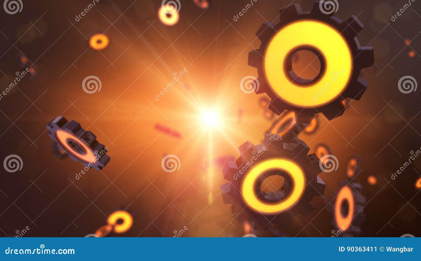 Orange futuristic gear steampunk concept - gear wheel explosion
