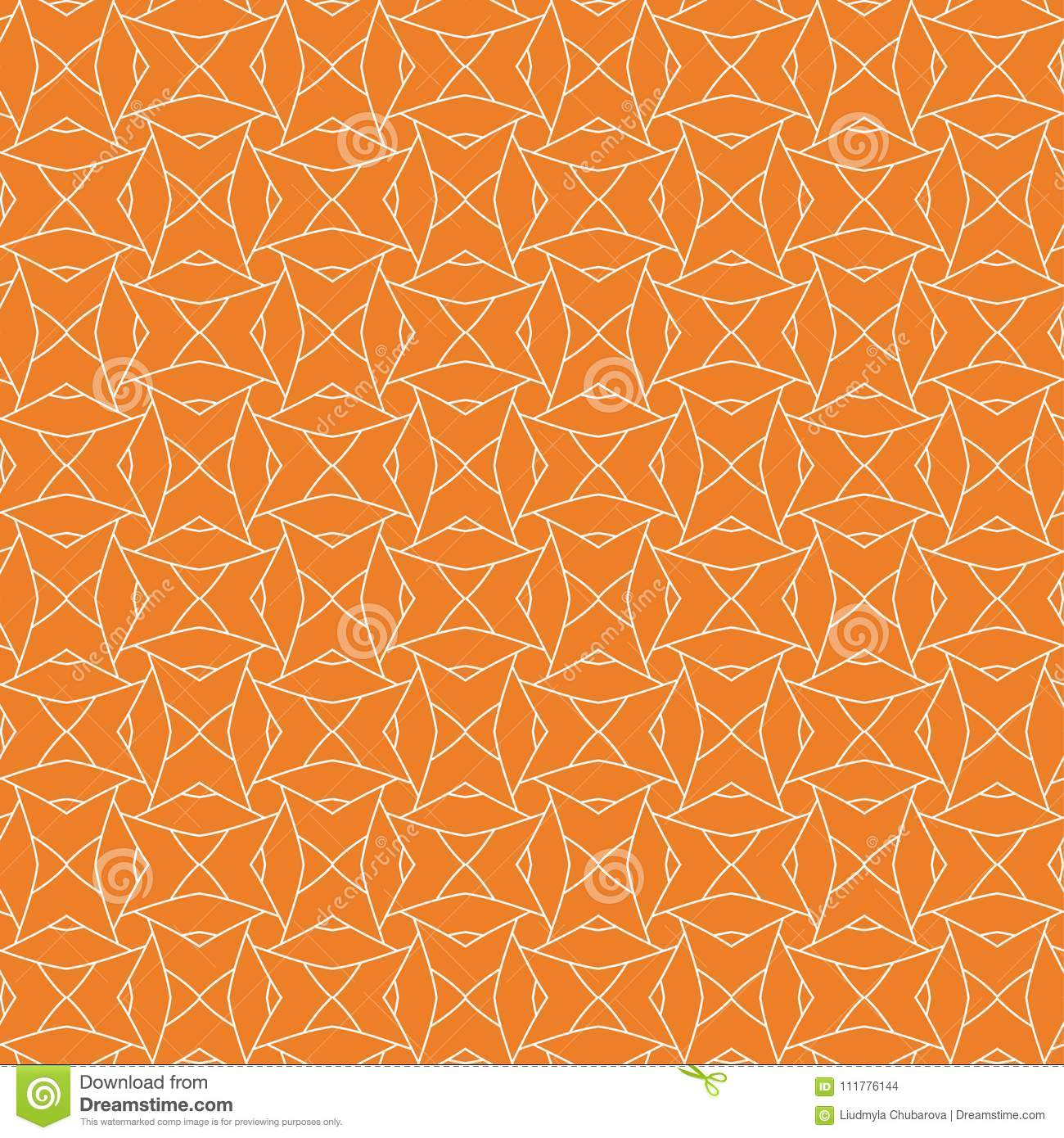 Orange geometric ornament. Seamless pattern