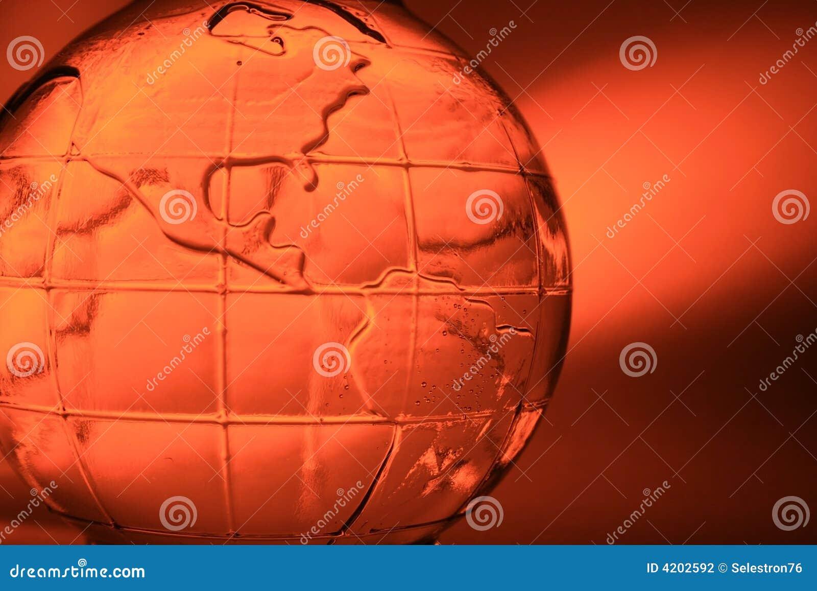Orange glass globe