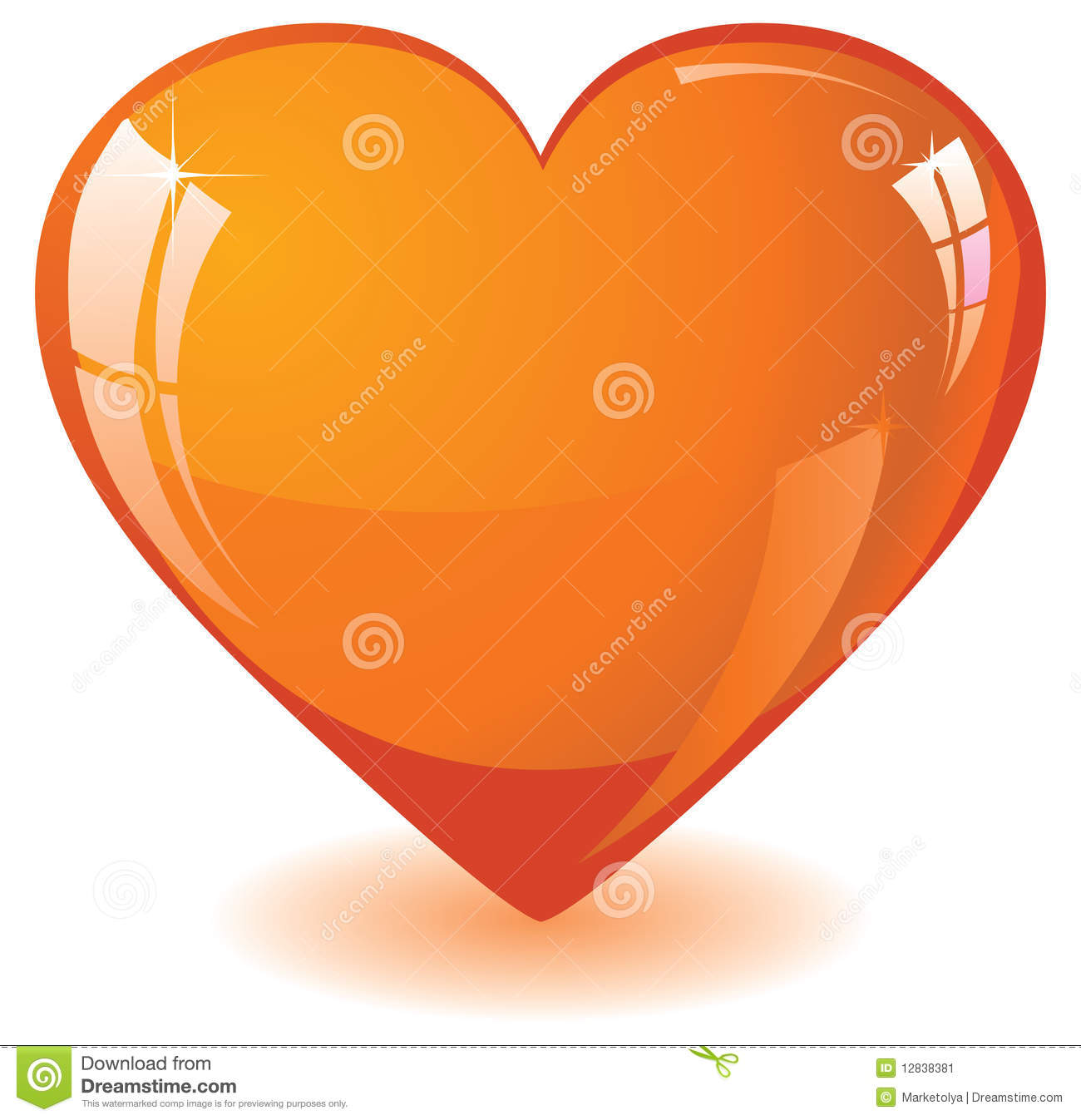 Orange Glass Heart