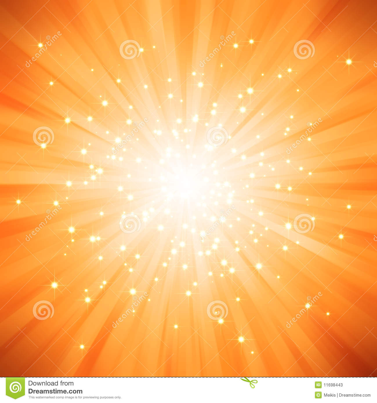 Orange Golden Light Burst With Stars Stock Illustration ...