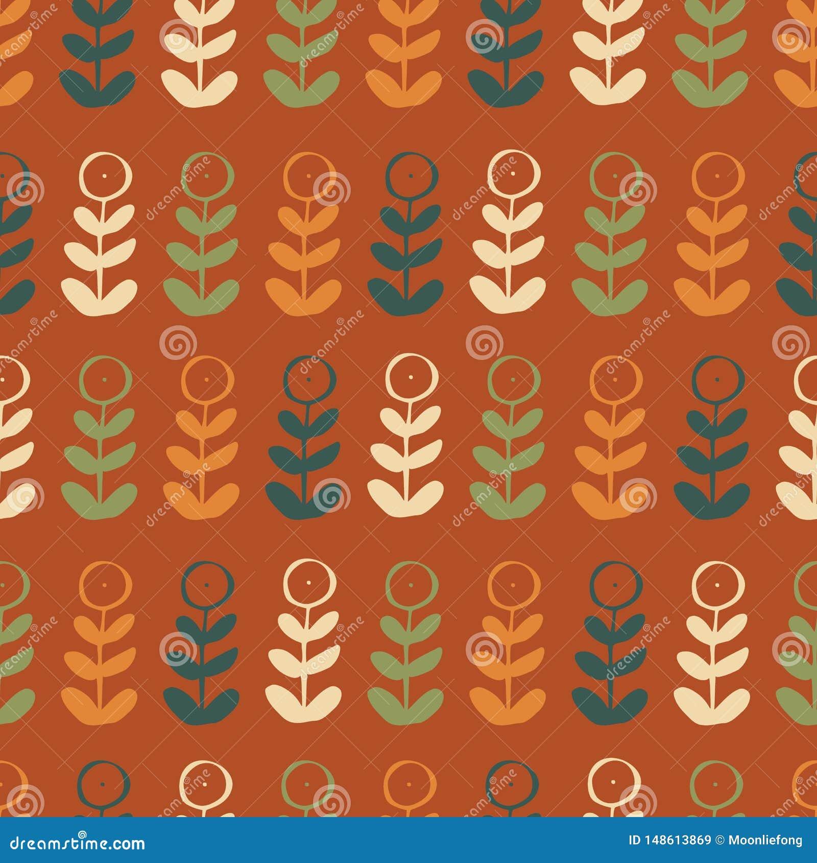 Orange grön blå röd för repetitionmodell för blom- växt grafisk sömlös design