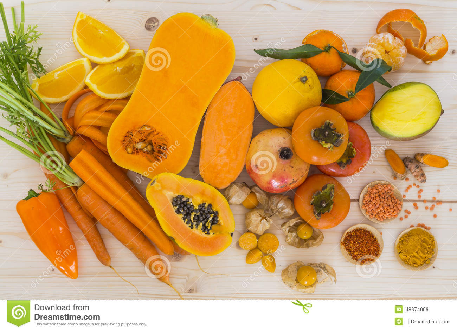 Orange grönsaker och frukt