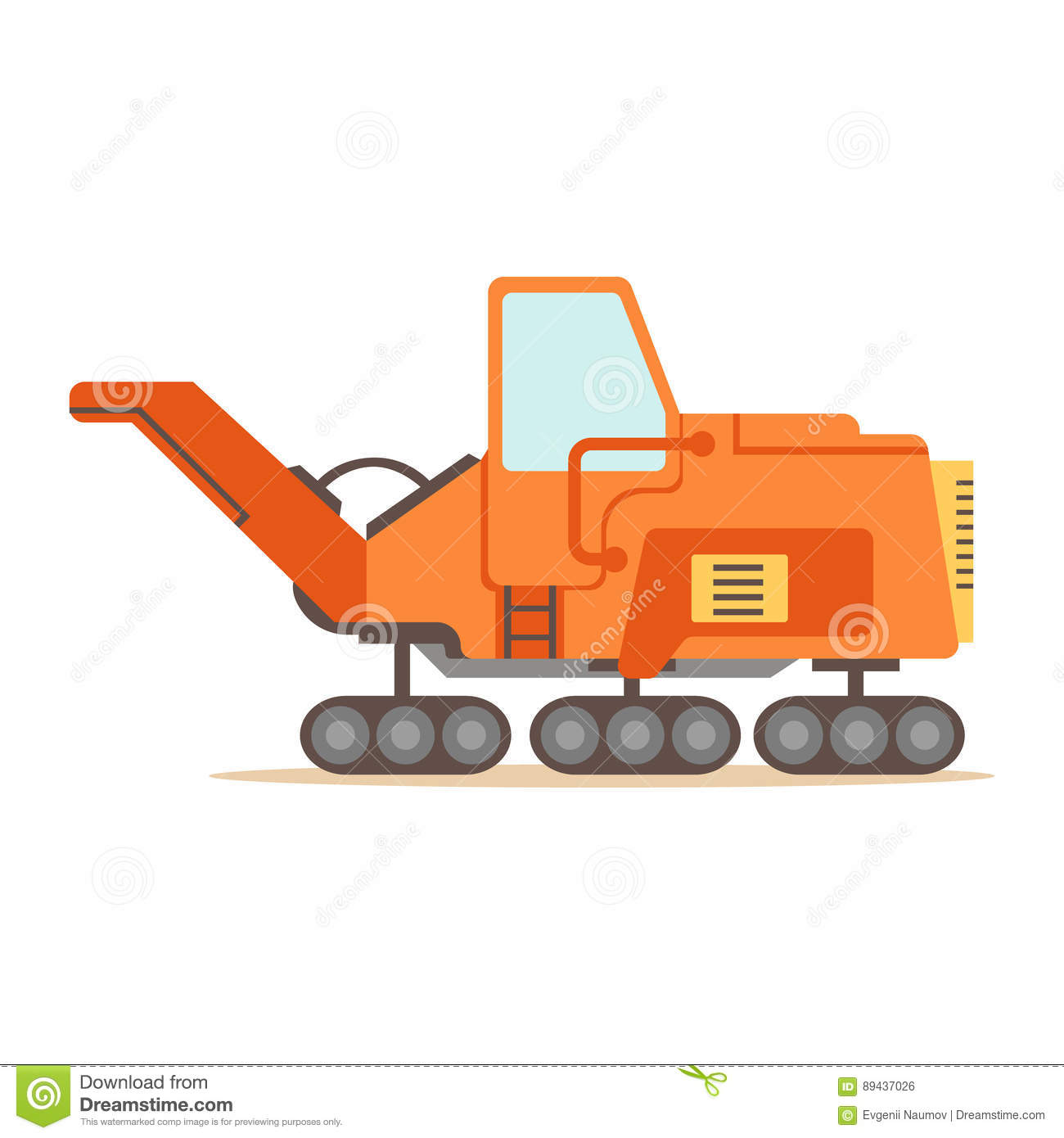 Orange Gravel Spreading Graver Machine , Part Of Roadworks And Construction Site Series Of Vector Illustrations
