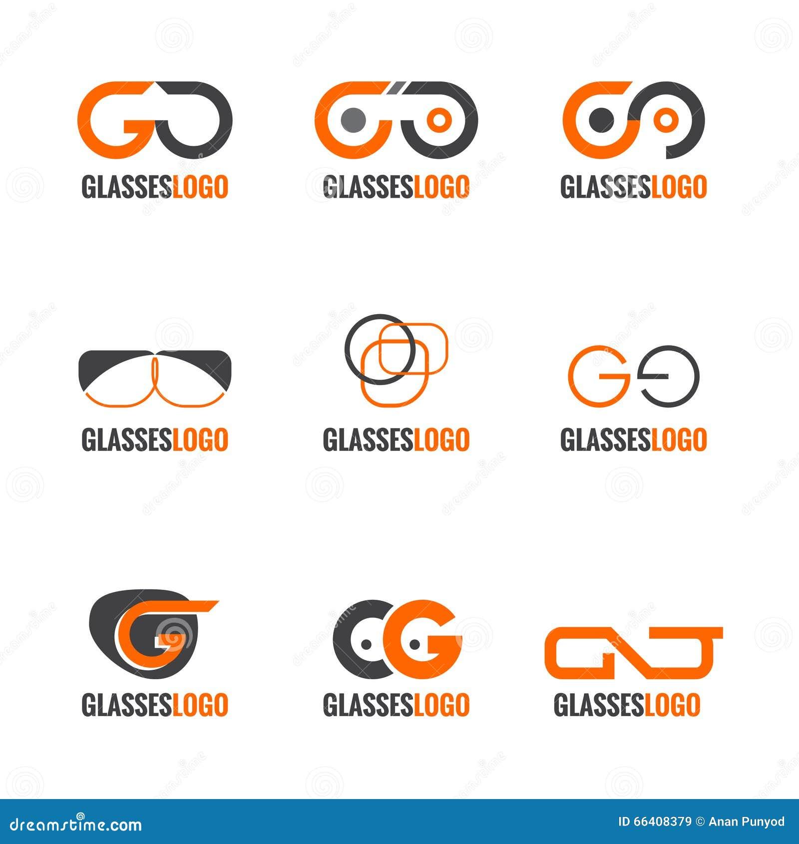 Orange And Gray Glasses Logo Vector Set Design Stock