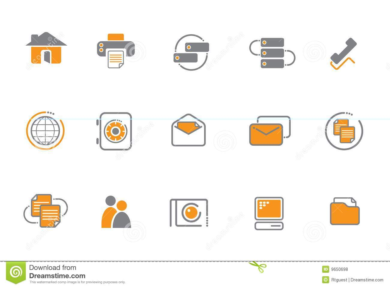 orange and gray icon set stock vector image of drawn