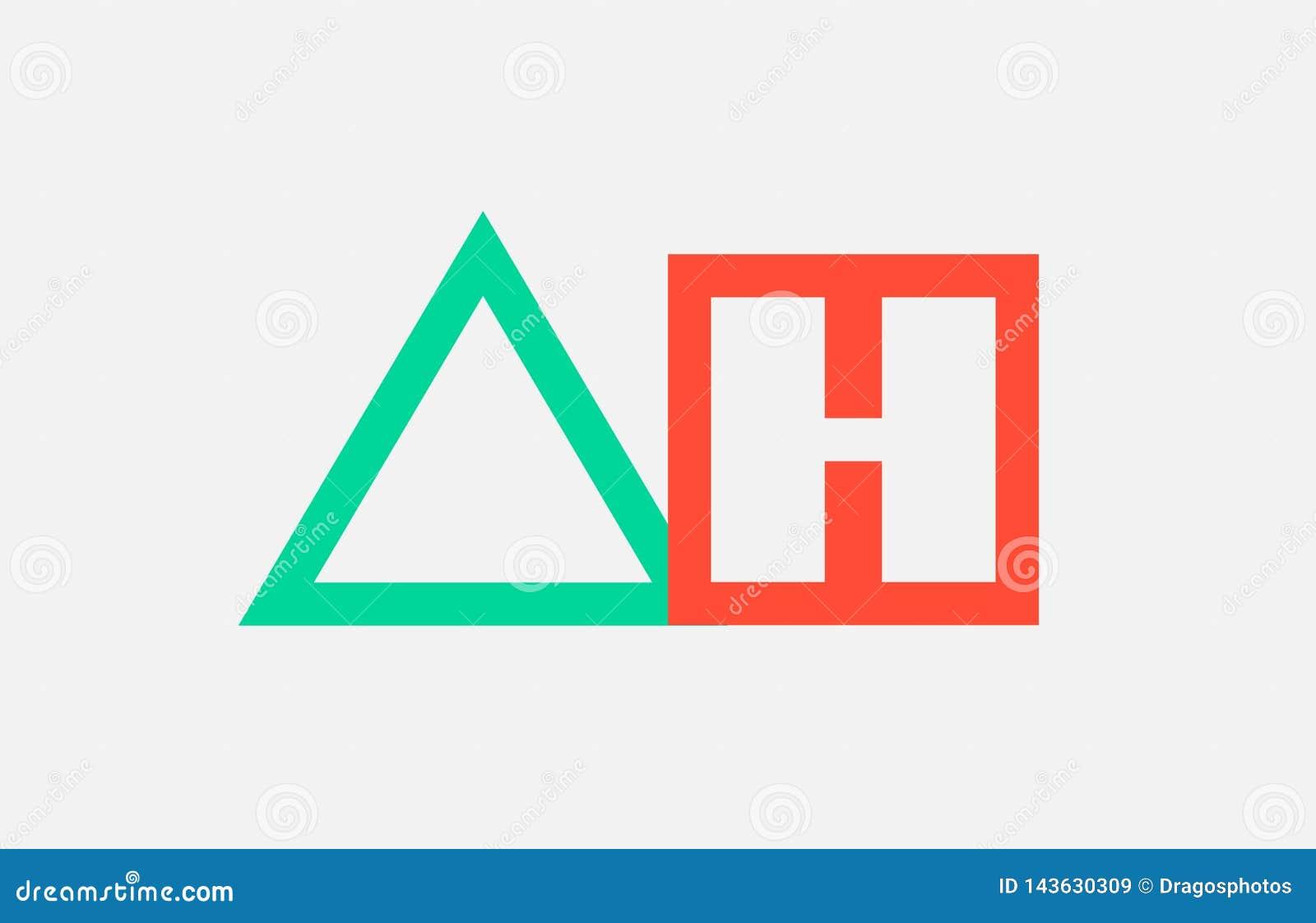 Orange Green Alphabet Letter Logo Combination Ah A H Design