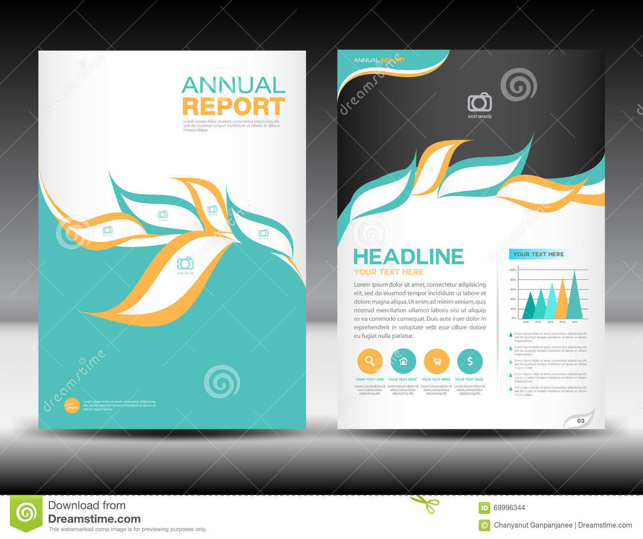 graphic design brochure - orange green annual report template cover design brochure