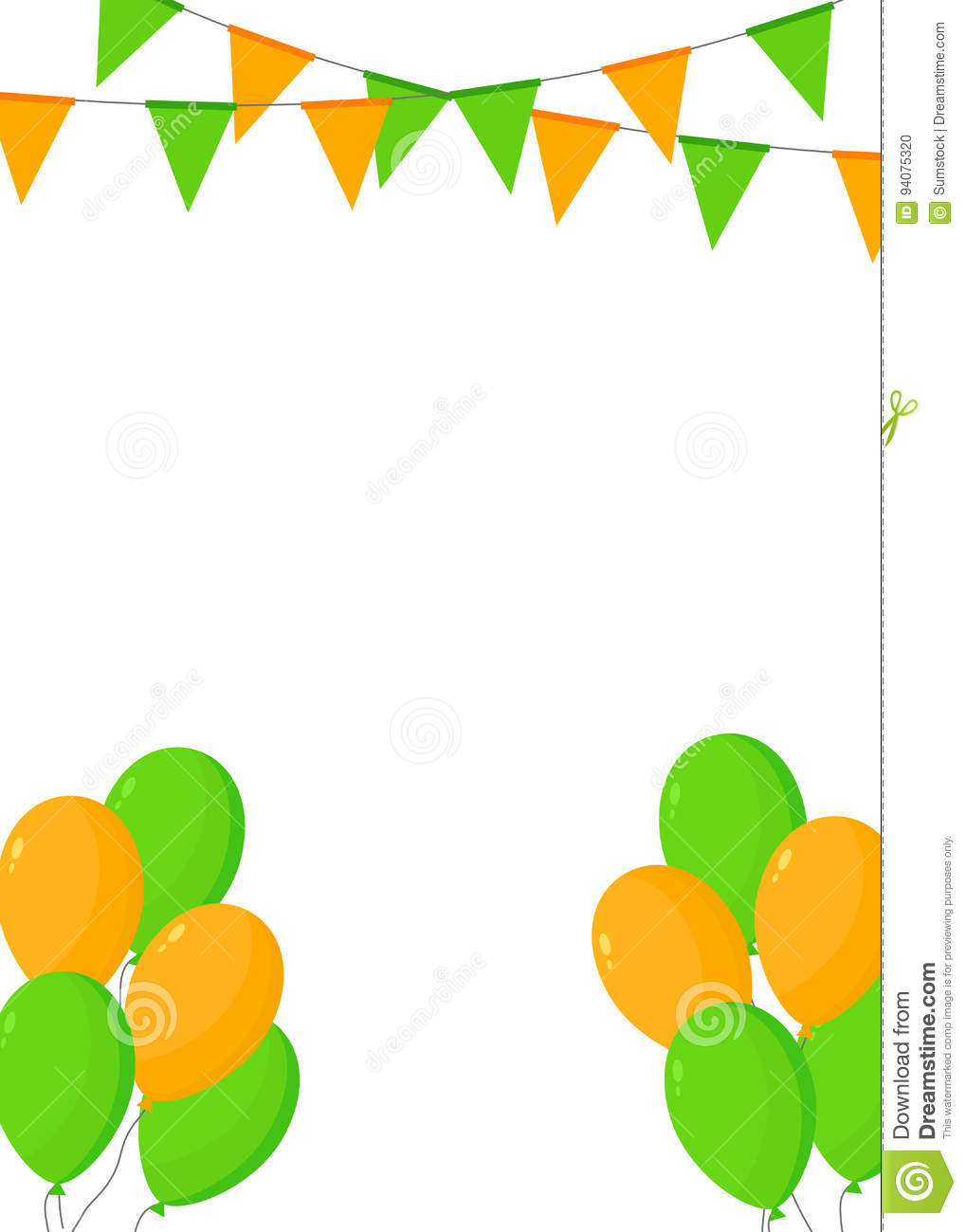 Orange and green buntings and balloons