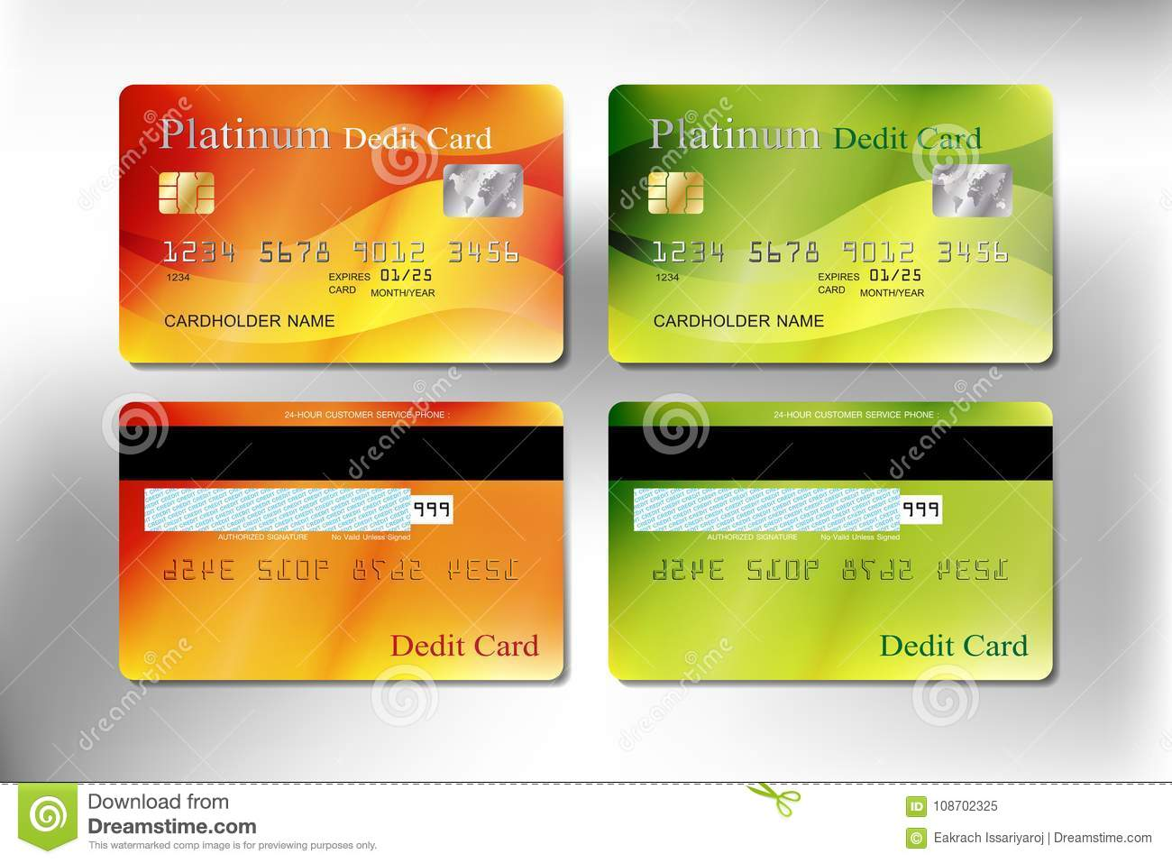 Orange And Green Color Realistic Credit Or Debit Card Editorial ...