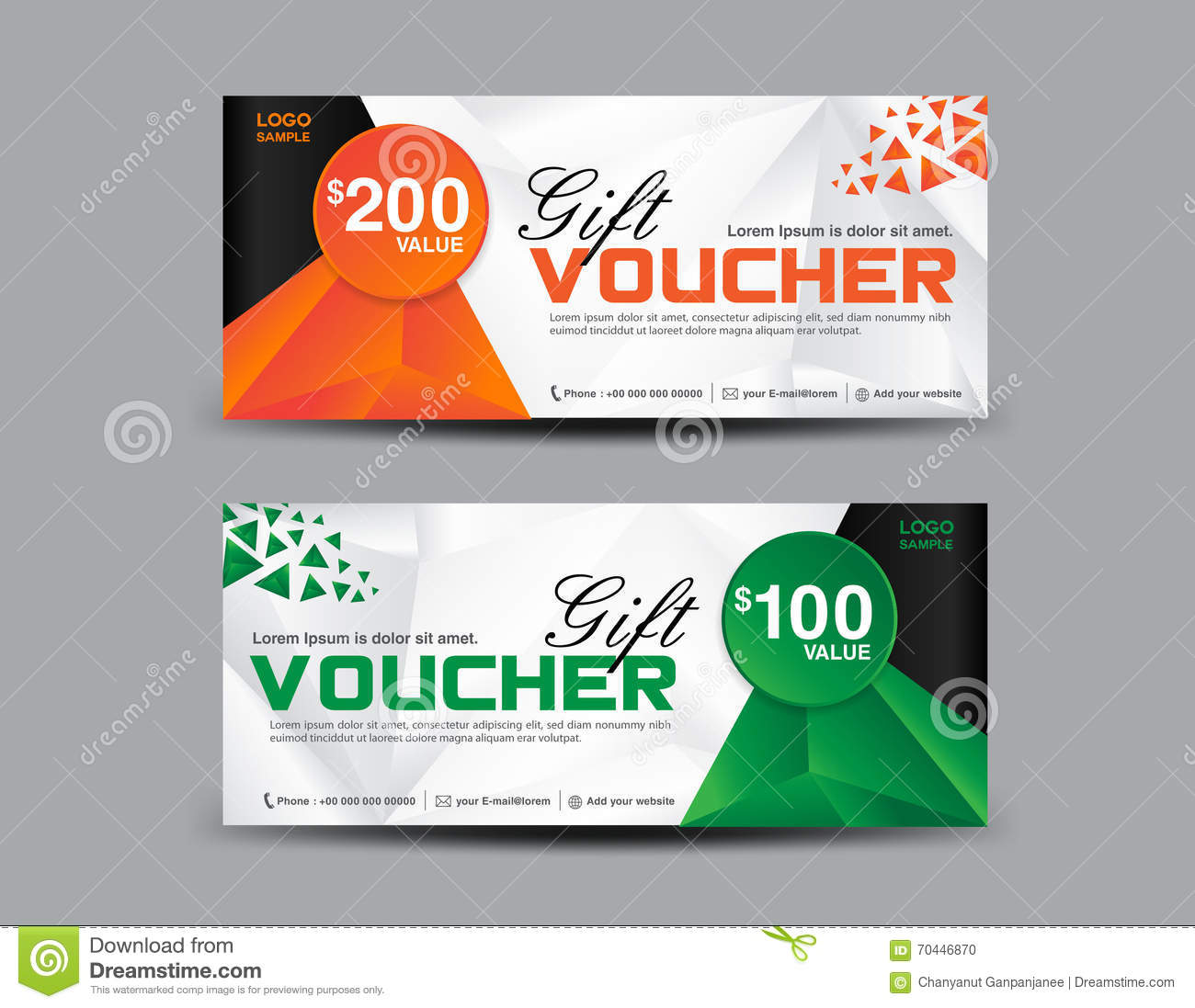 Orange And Green Gift Voucher Template, Coupon Design