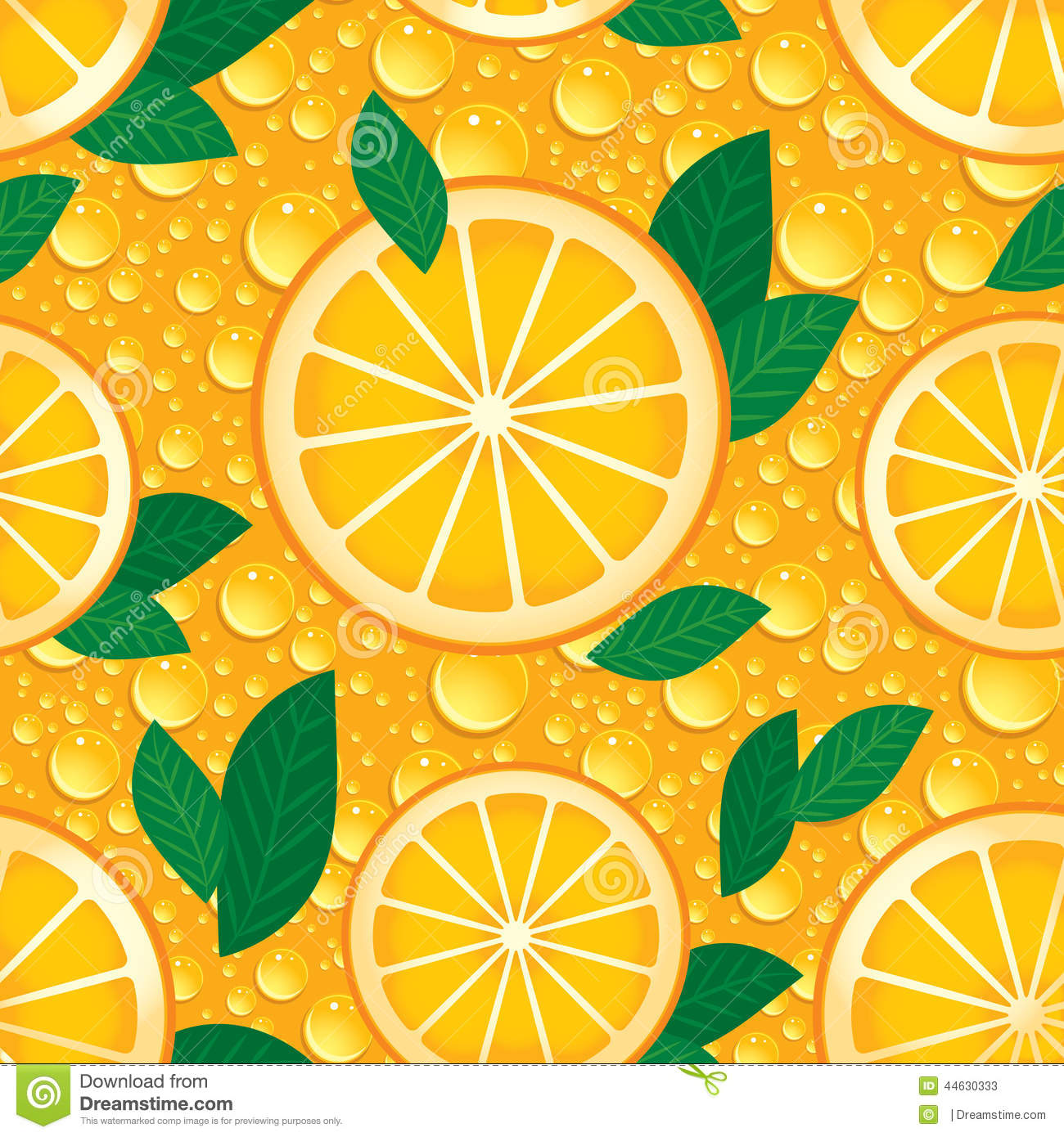 Orange with green leaves seamless pattern. Vector.