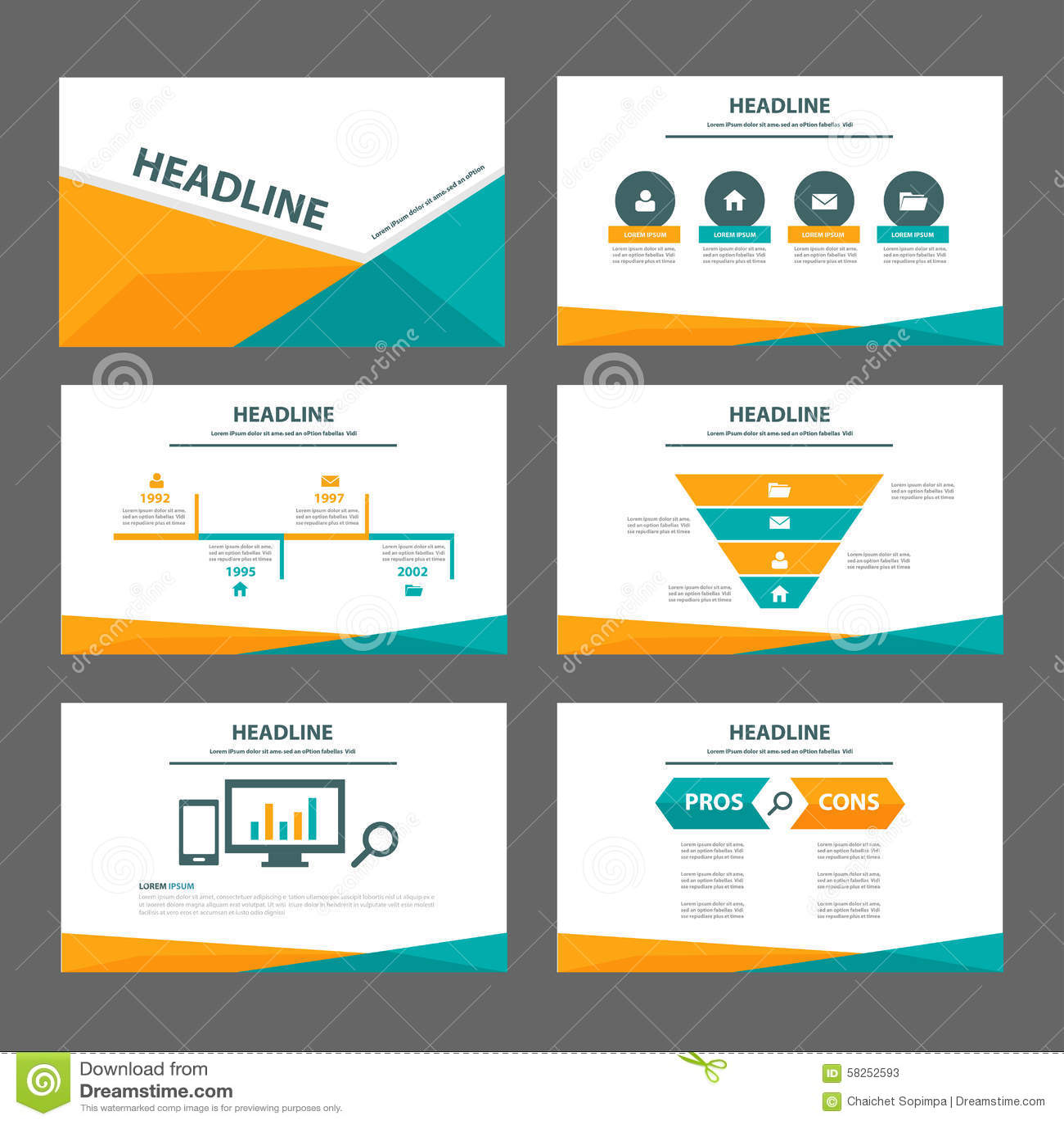orange and green multipurpose brochure flyer leaflet website template flat design stock vector