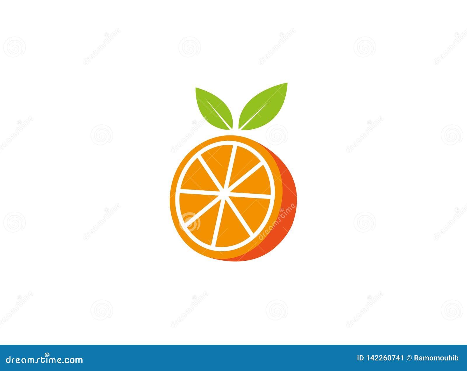 Orange Hälfte eines Stückes und mit Blatt für Logoentwurf zermahlen