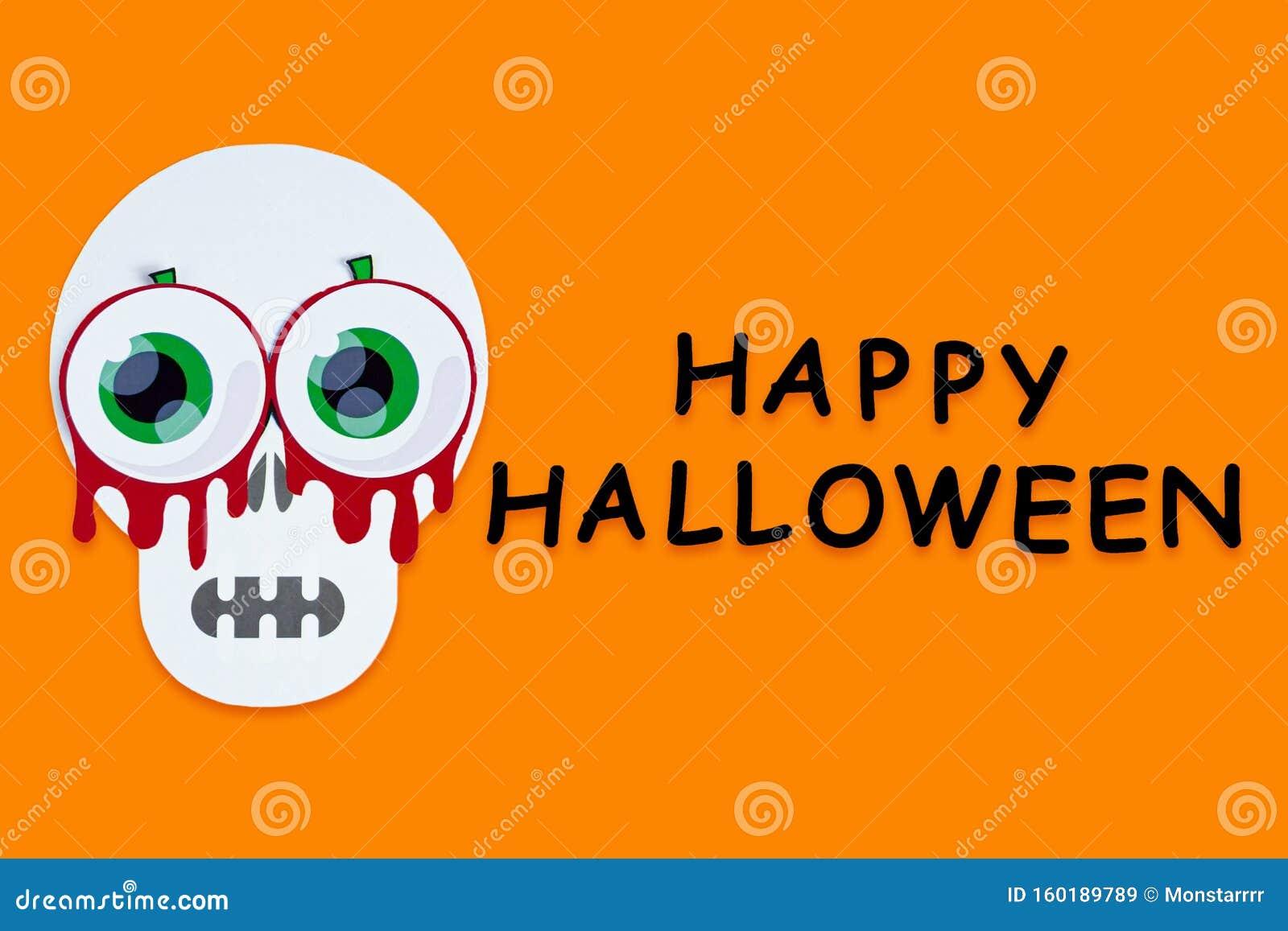Orange Halloween Background With Halloween Props Stock Image