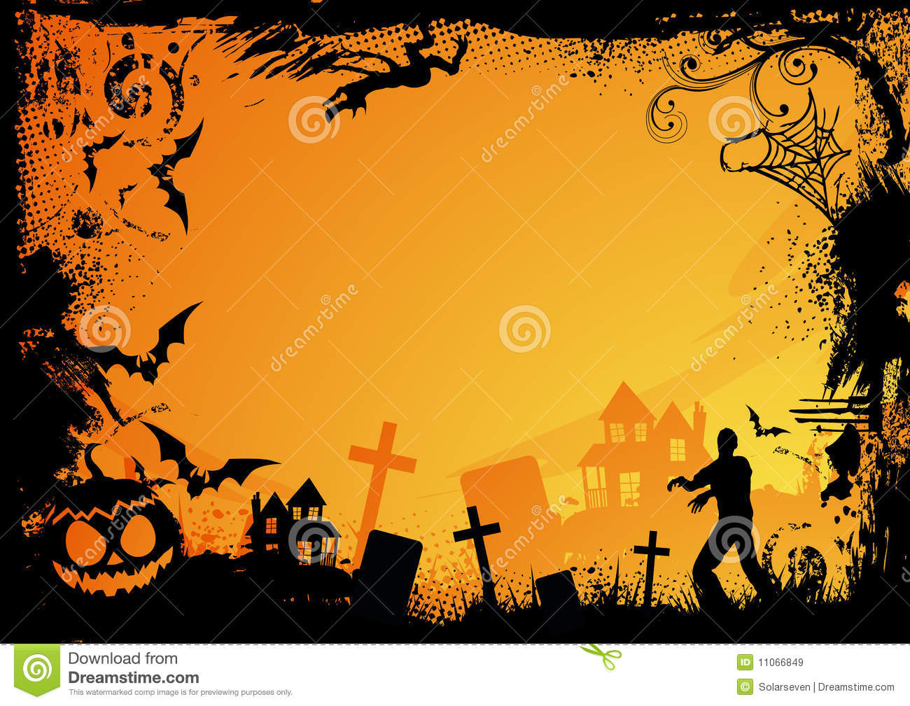 Orange Halloween Theme stock vector. Illustration of graveyard ...