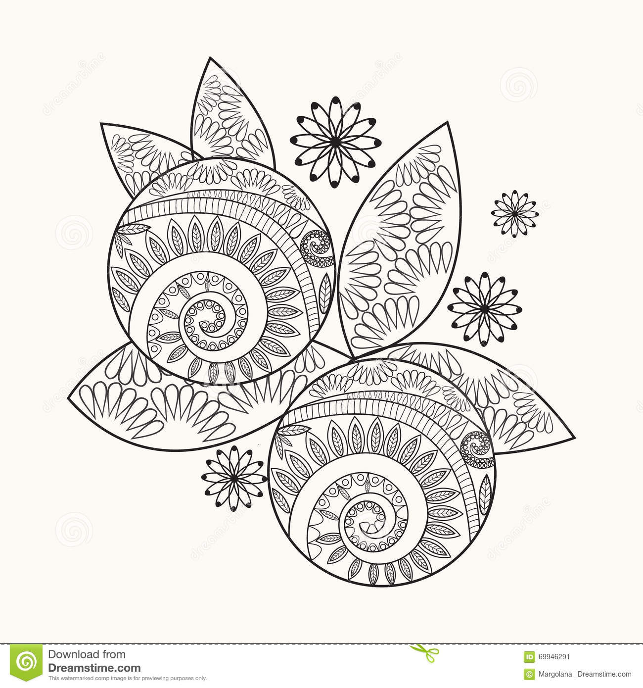 Orange Hand Drawn For Coloring Page Stock Vector