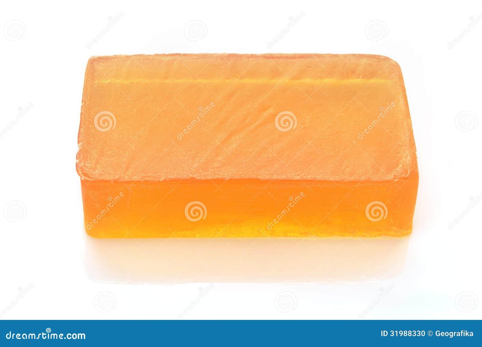 Orange Handmade Glycerin Soap On White Stock Photo
