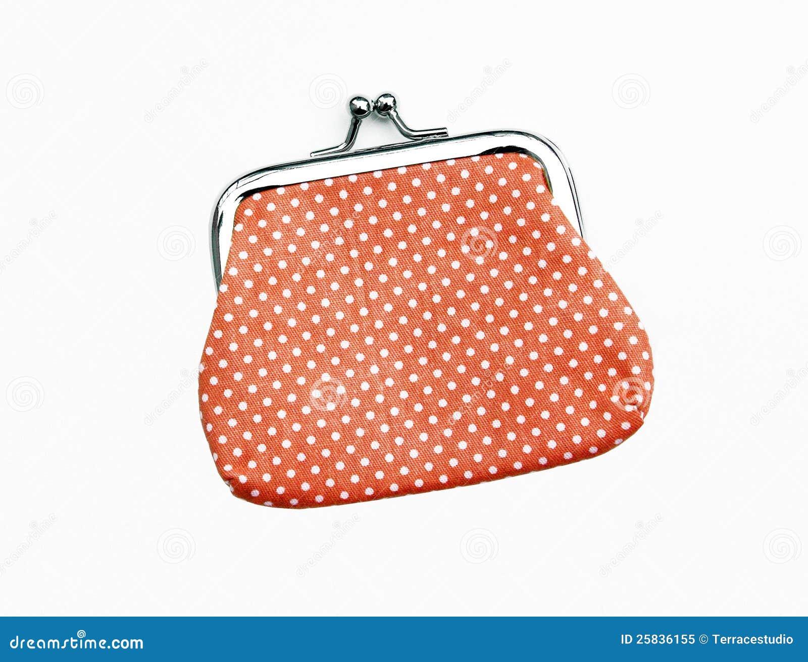 Orange handväska för rät maskaändringsmynt