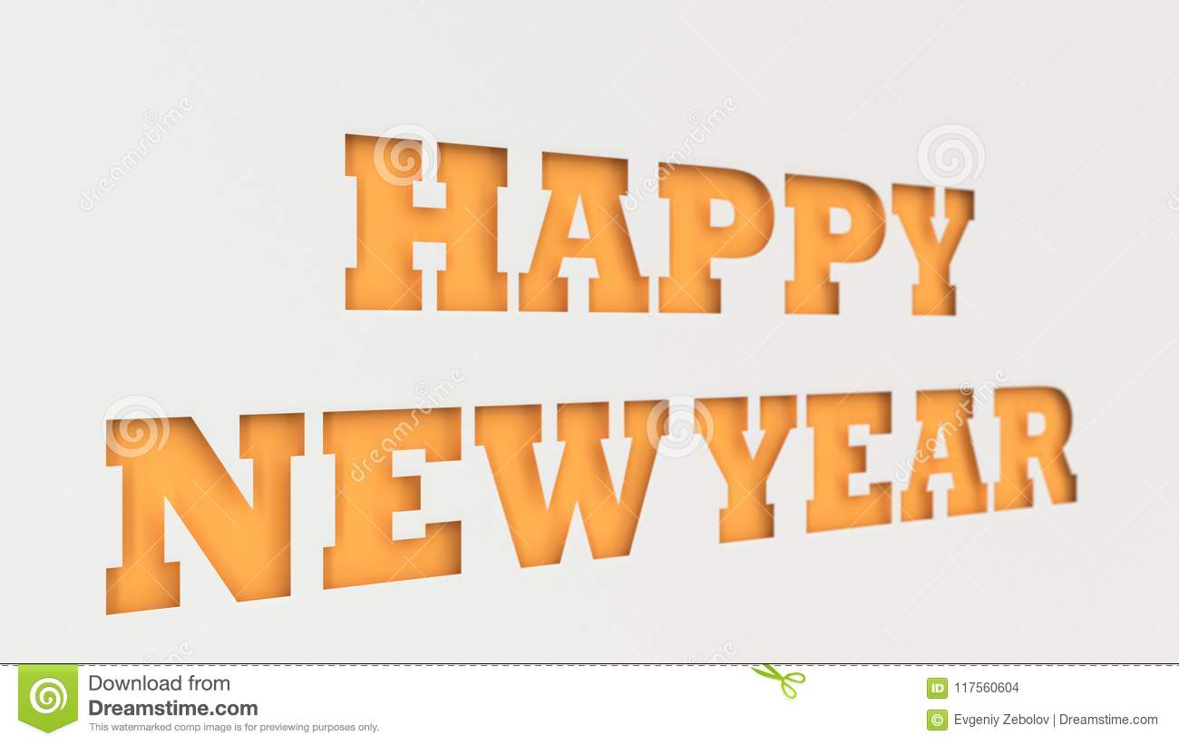 Orange Happy New Year Words Cut In White Paper Stock Illustration ...