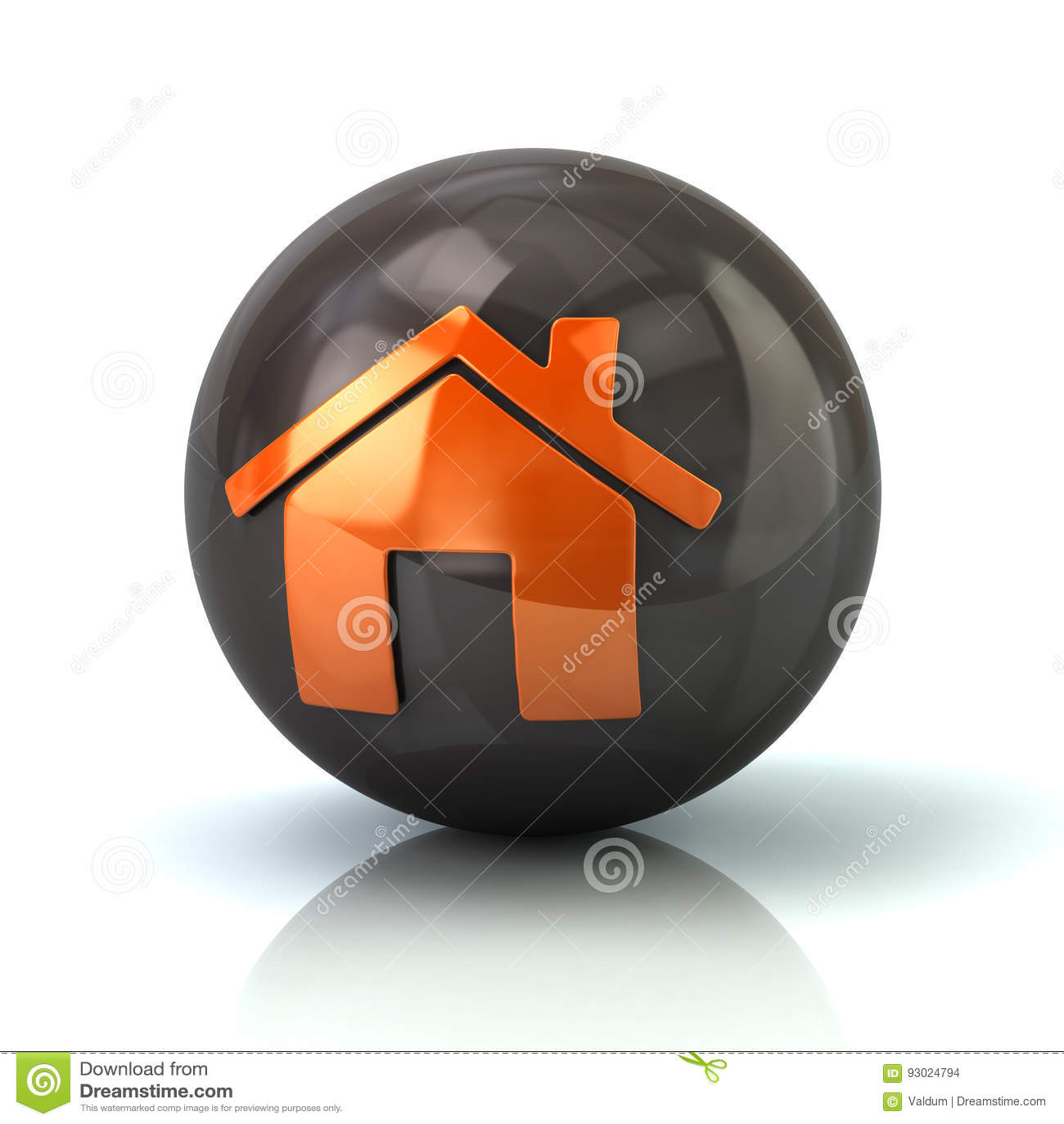 Orange home icon on black glossy sphere