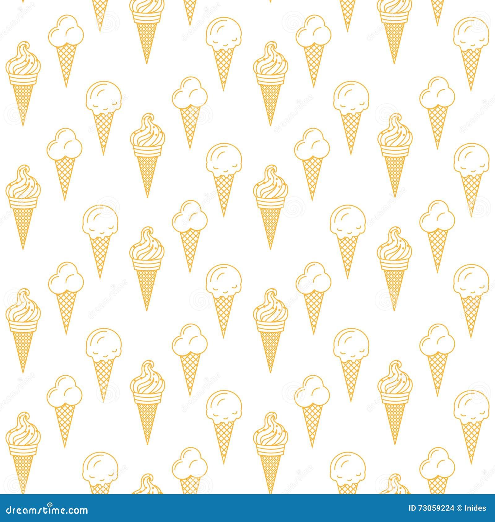 Ice Cream Cones Seamless Pattern Background Stock Vector: Orange Ice Cream Vector Seamless Pattern. Summer