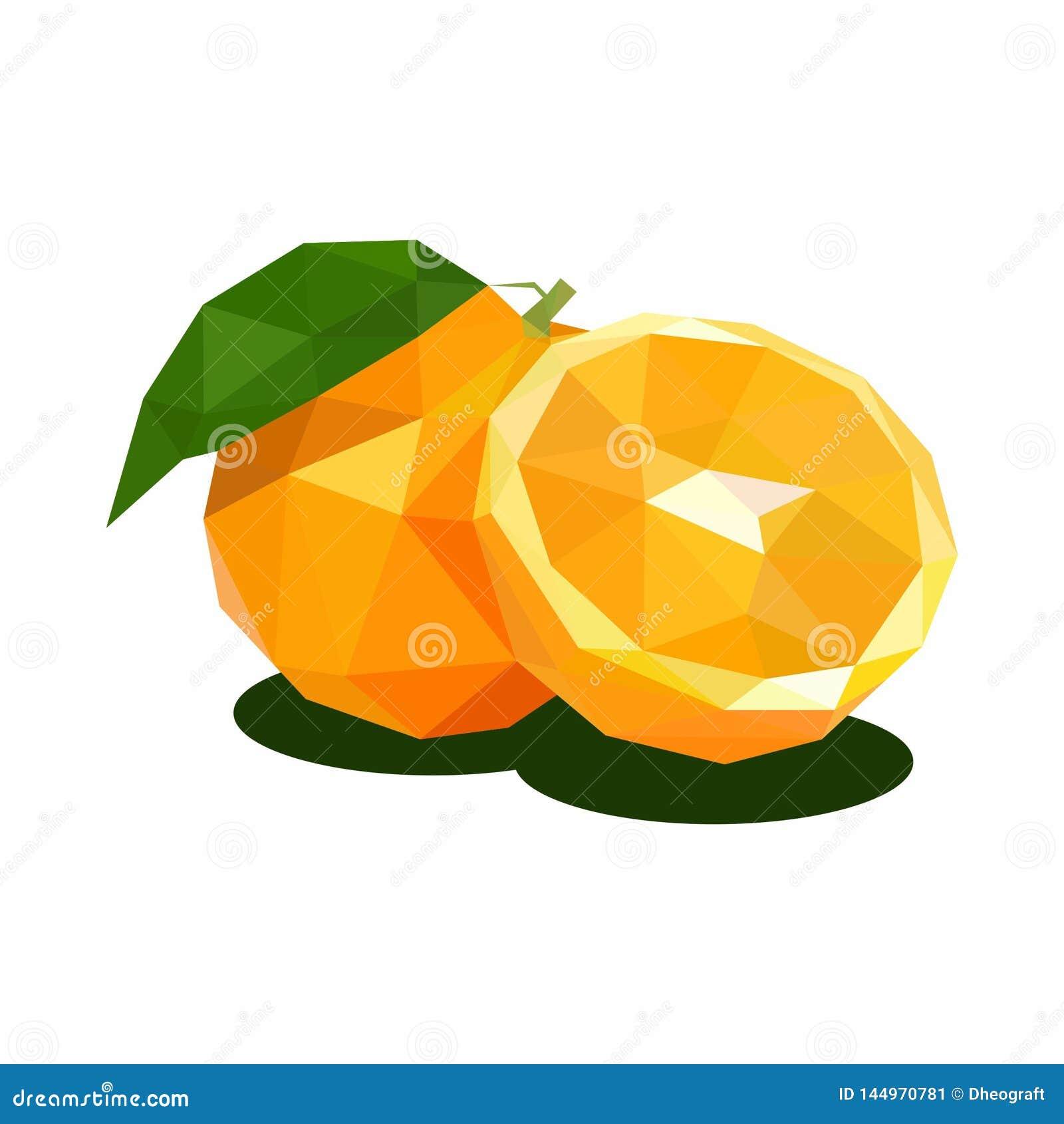 Orange, Illustration of Fruit. Polygonal Art