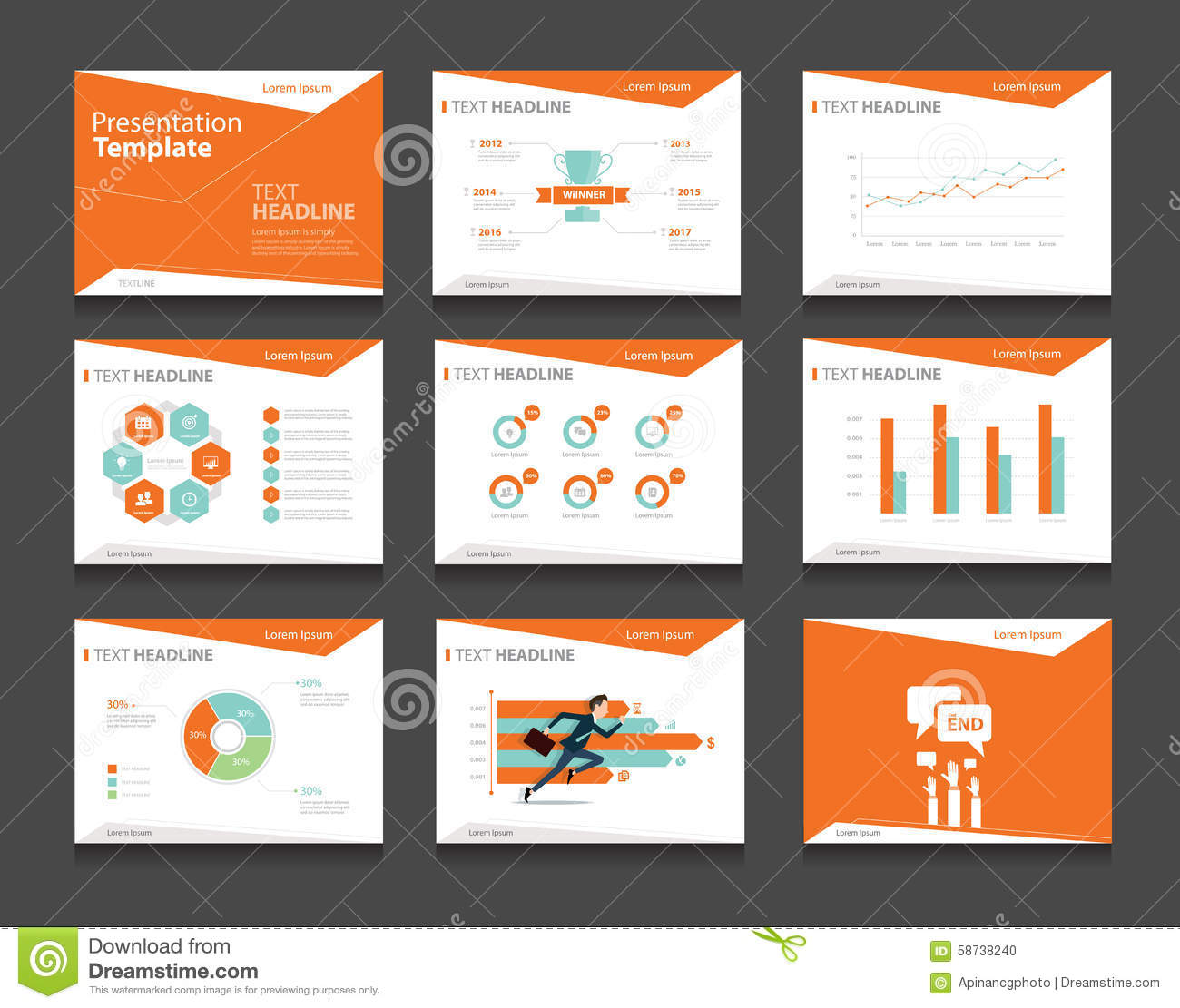 orange infographic business presentation template set.powerpoint, Modern powerpoint