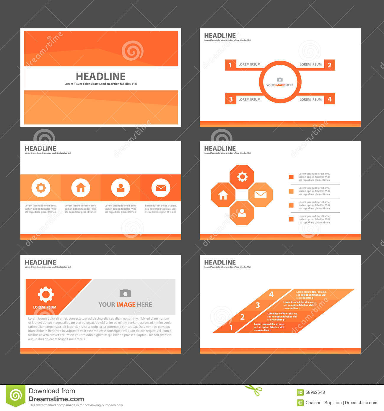 orange infographic element and icon presentation templates flat
