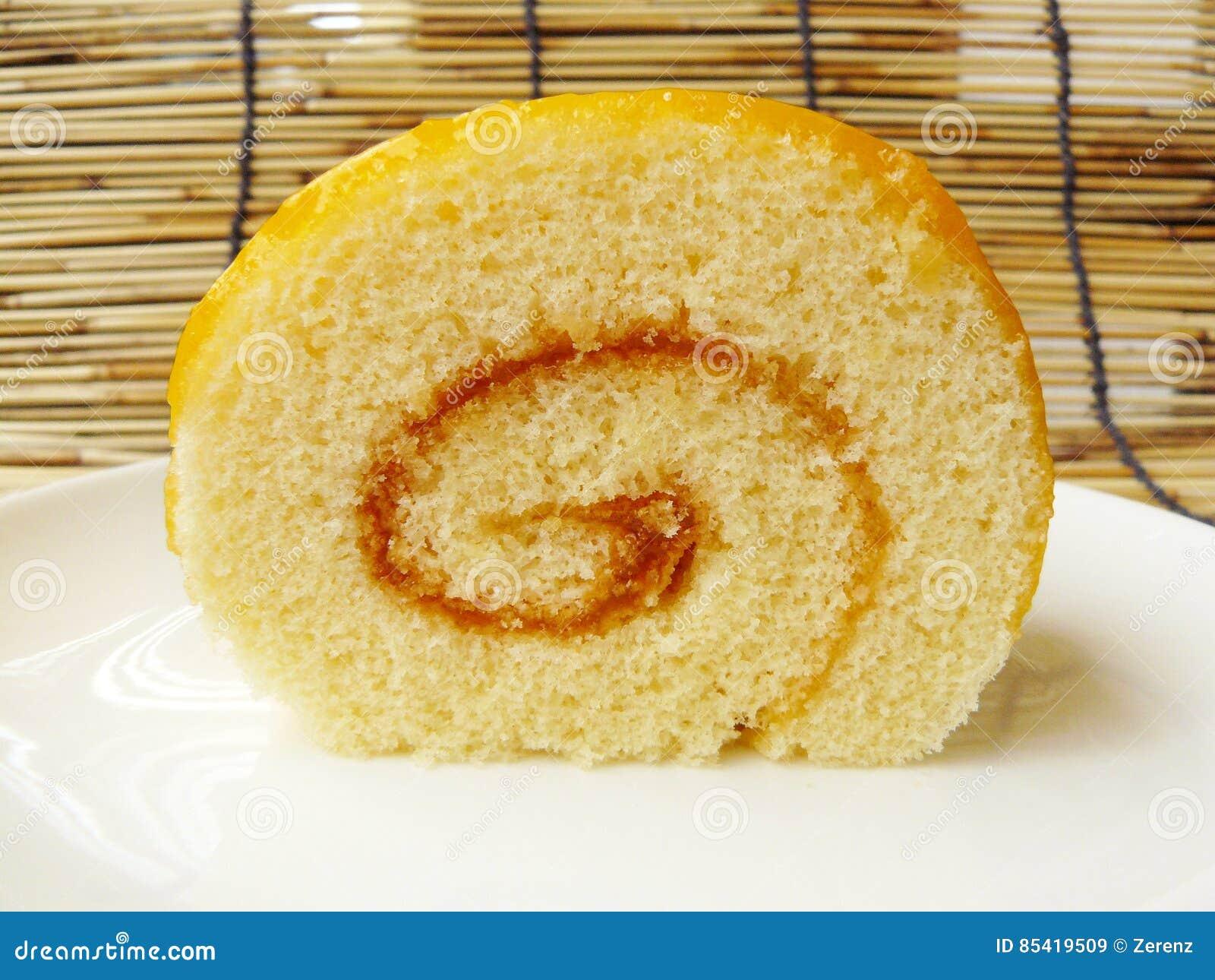 Cartoon Jelly Cake Recipe: Orange Cake Roll Royalty-Free Stock Photography