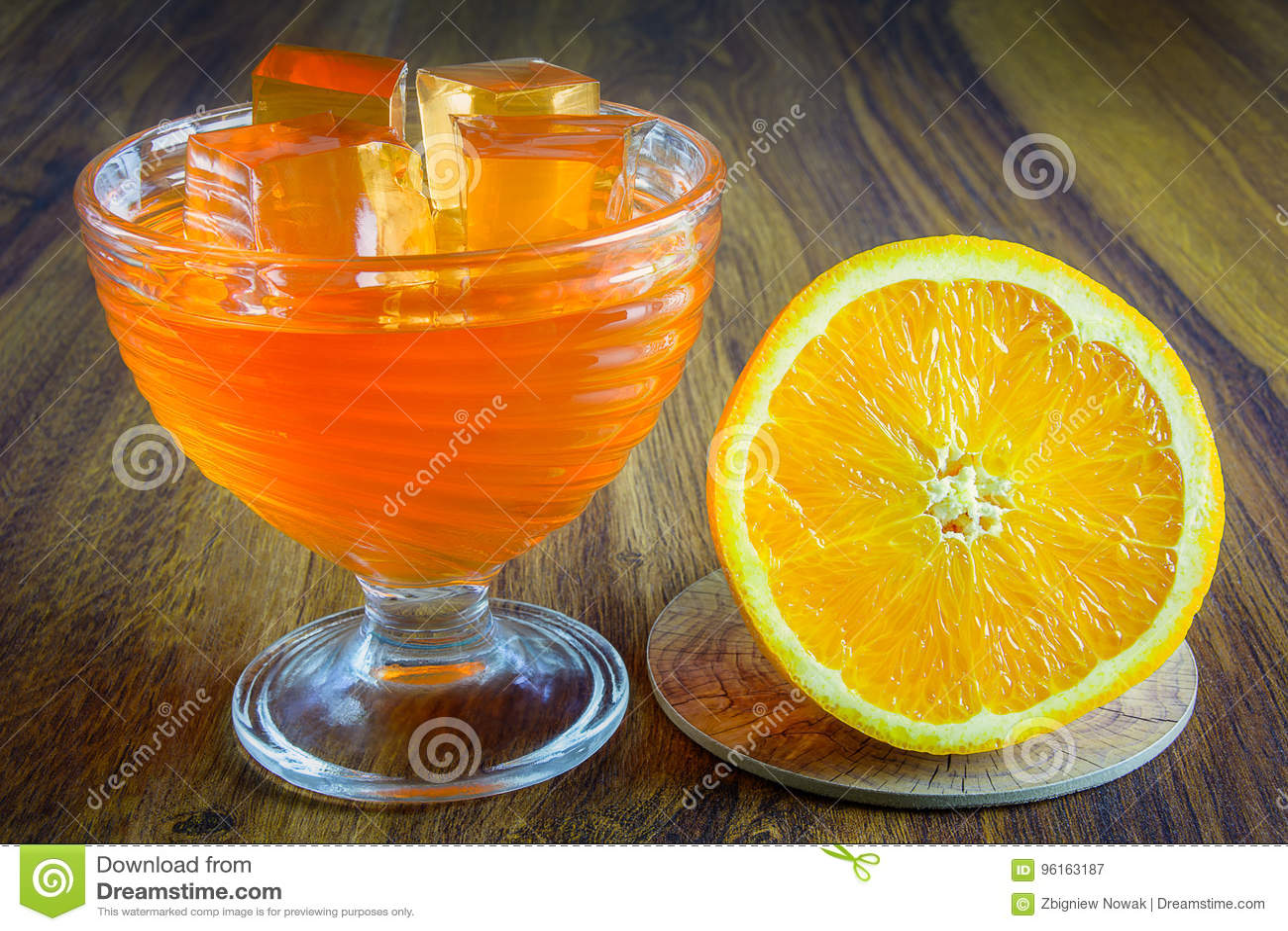 Orange jelly with fruit.