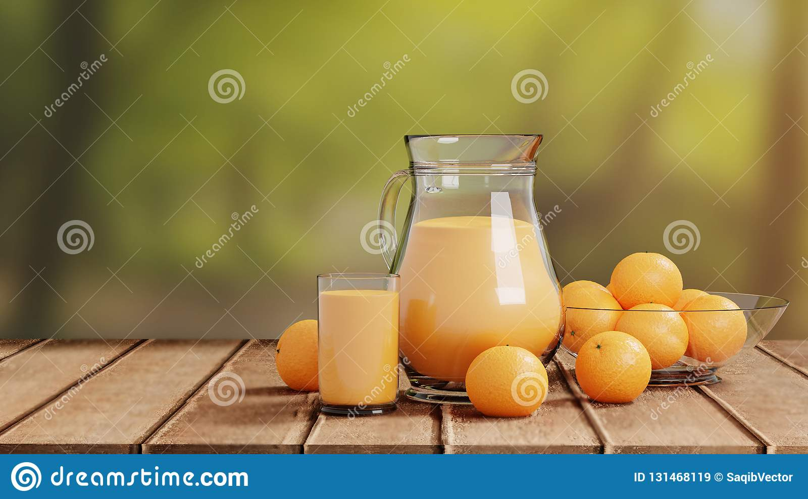 Orange Juice with Glass and Pitcher on Wooden Floor