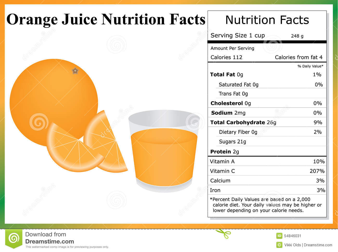 orange juice nutrition facts stock vector - illustration of beverage