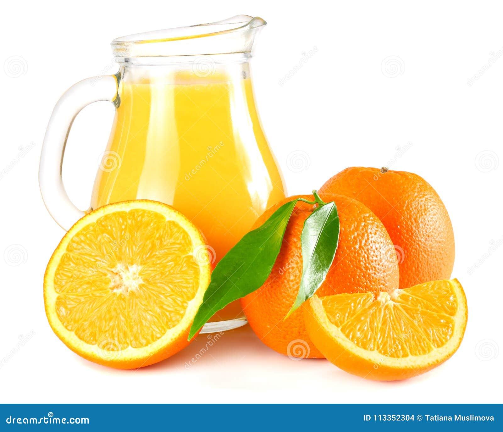 orange juice with orange and green leaf isolated on white background. juice in jug