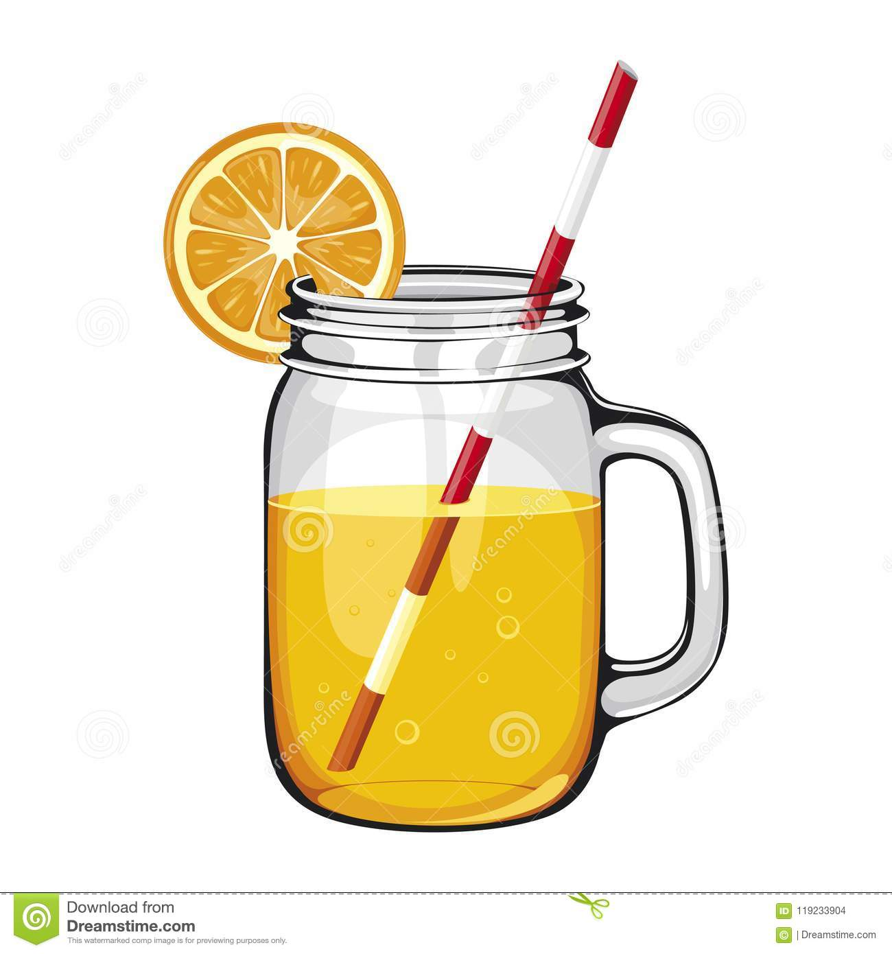 Orange juice,smoothie, in a mason jar with a straw, DECORATED WITH AN ORANGE SLICE.