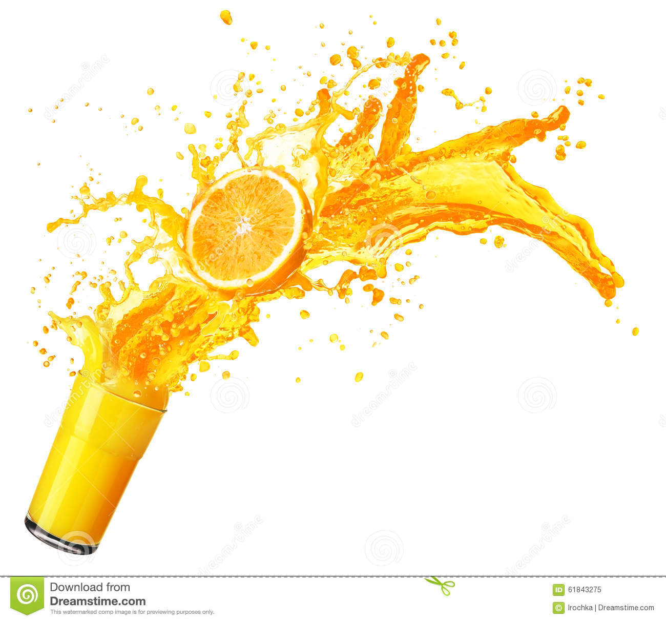Orange Juice Splashing With Its Fruits Isolated On White Stock Photo - Image: 61843275