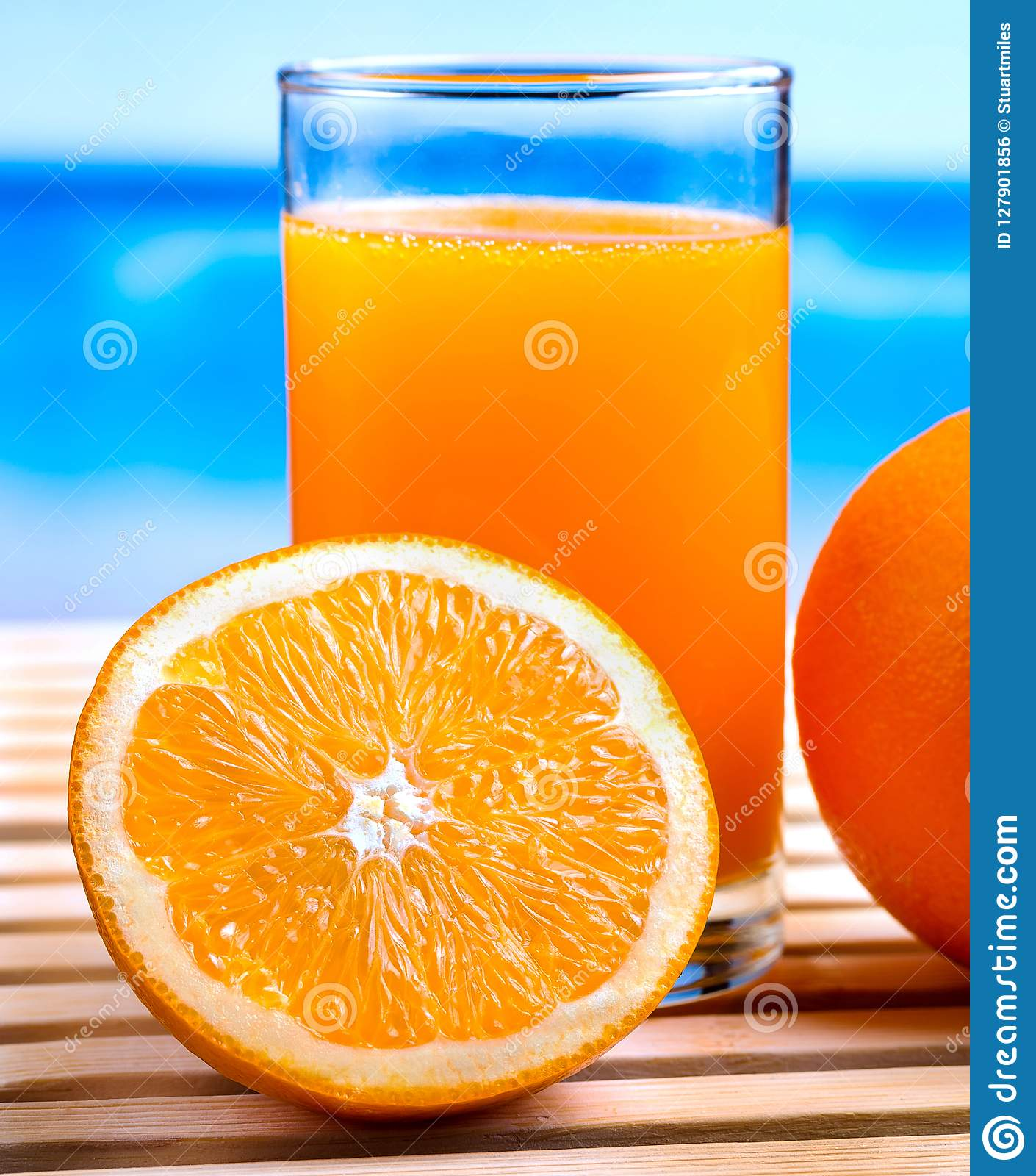 Orange Juice Squeezed Shows Thirsty Tropical And Oranges