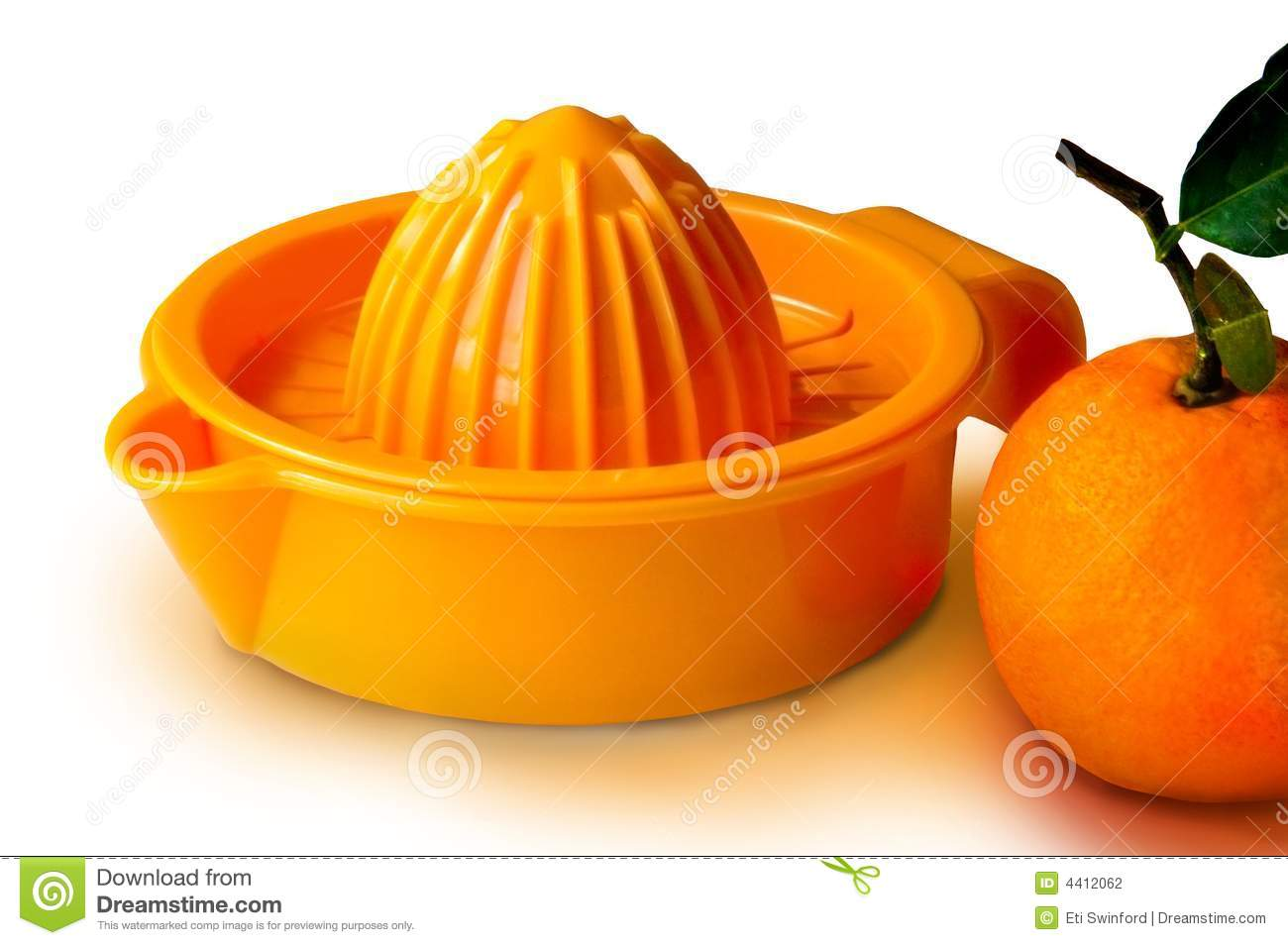 An orange orange juicer with an orange beside it on a white background ...