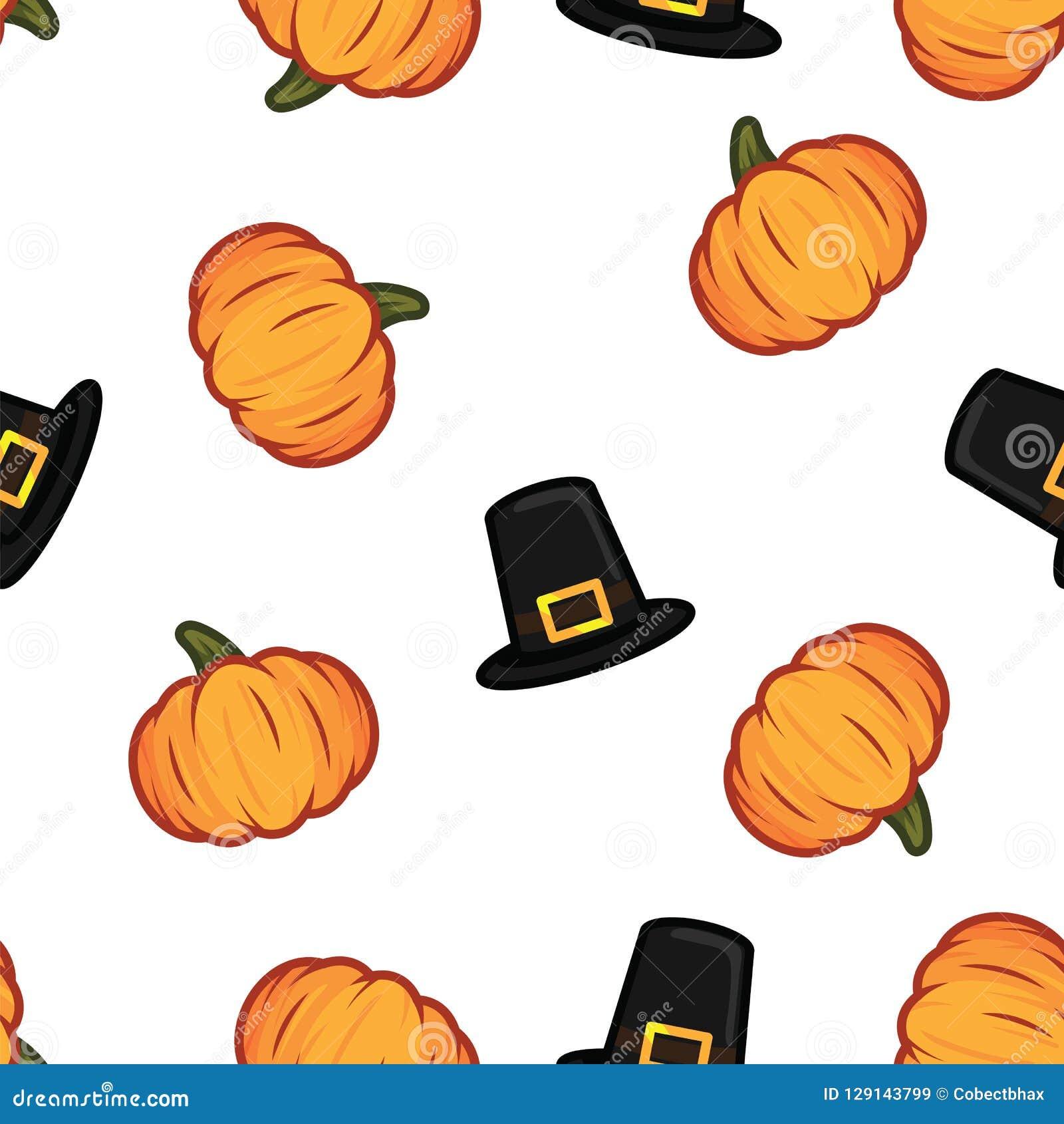 Orange Kürbis und schwarzer Hexenhut Halloween kopieren Hintergrund Kürbis- und Hexenhutmuster für glückliches Halloween