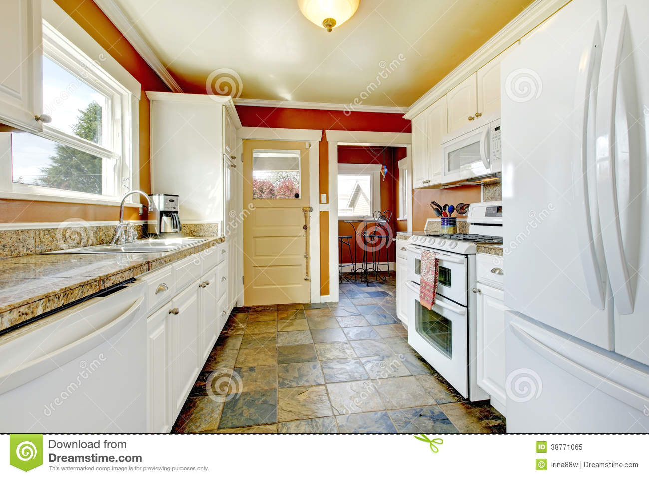 white kitchen cabinets orange walls orange kitchen room with white cabinets stock image 28879