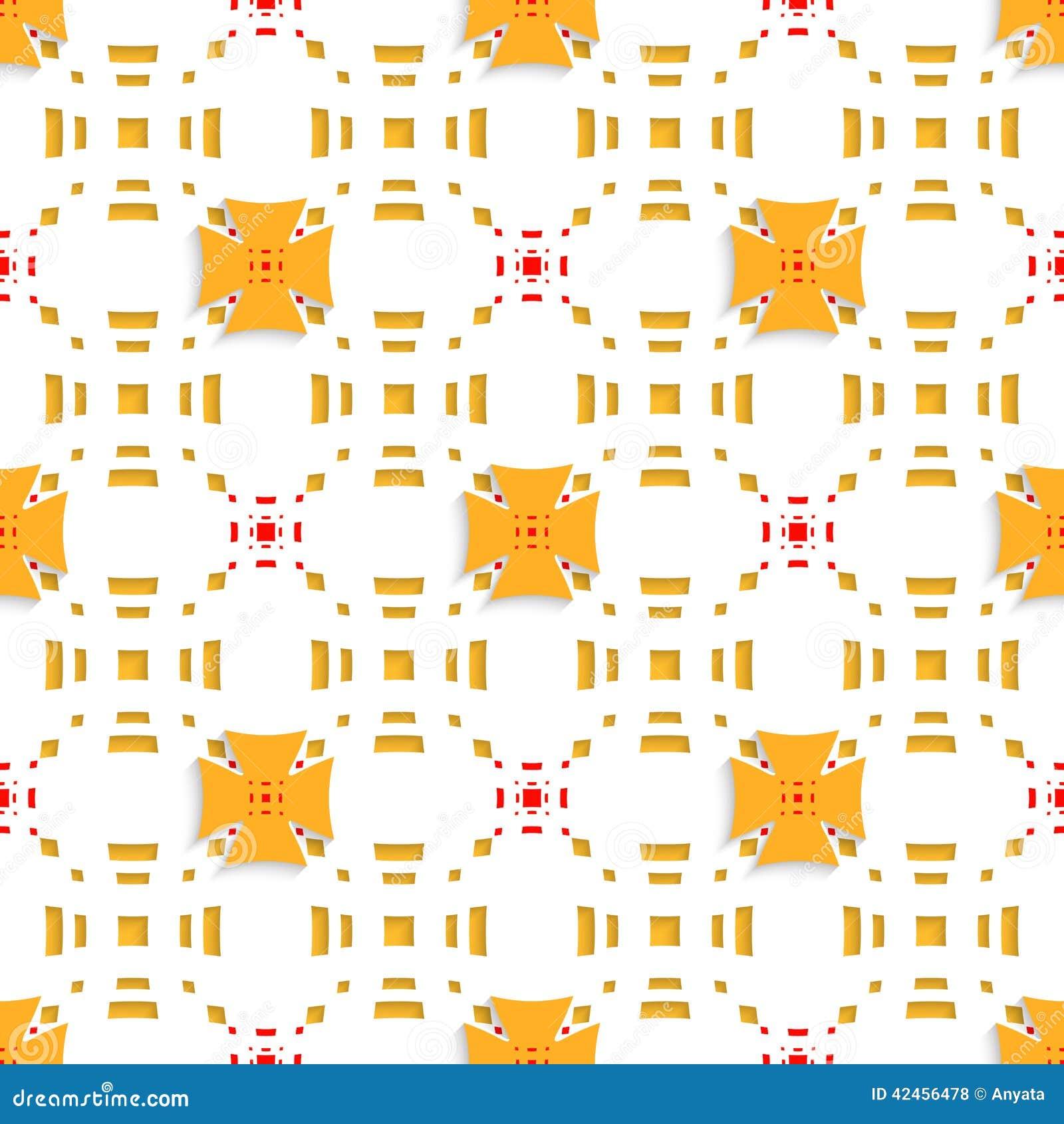 Orange Kreuze auf den obersten perforierten Rechtecken nahtlos