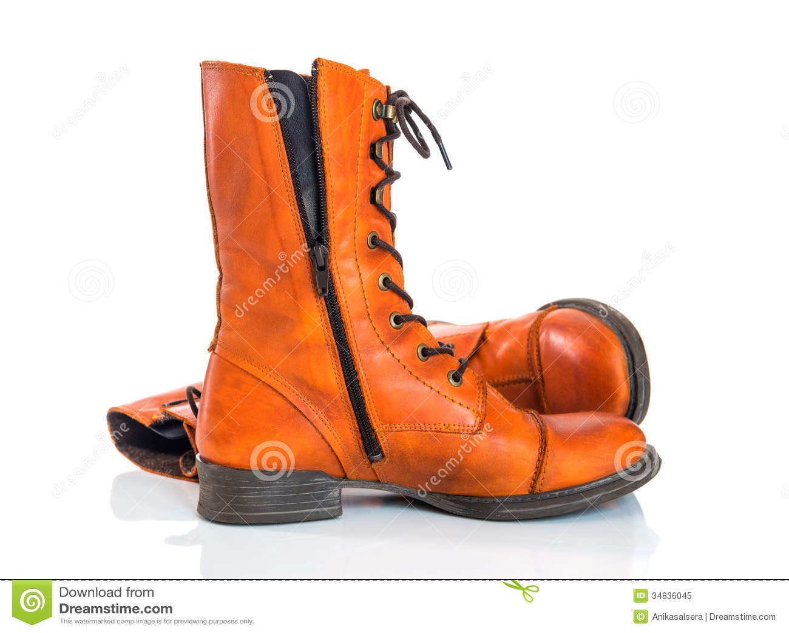 Orange Leather Boots On White Background Royalty Free ...