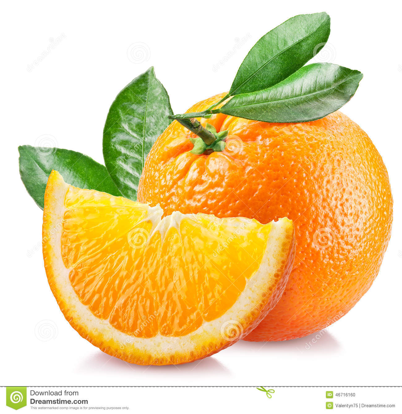 Orange with leaves over white.
