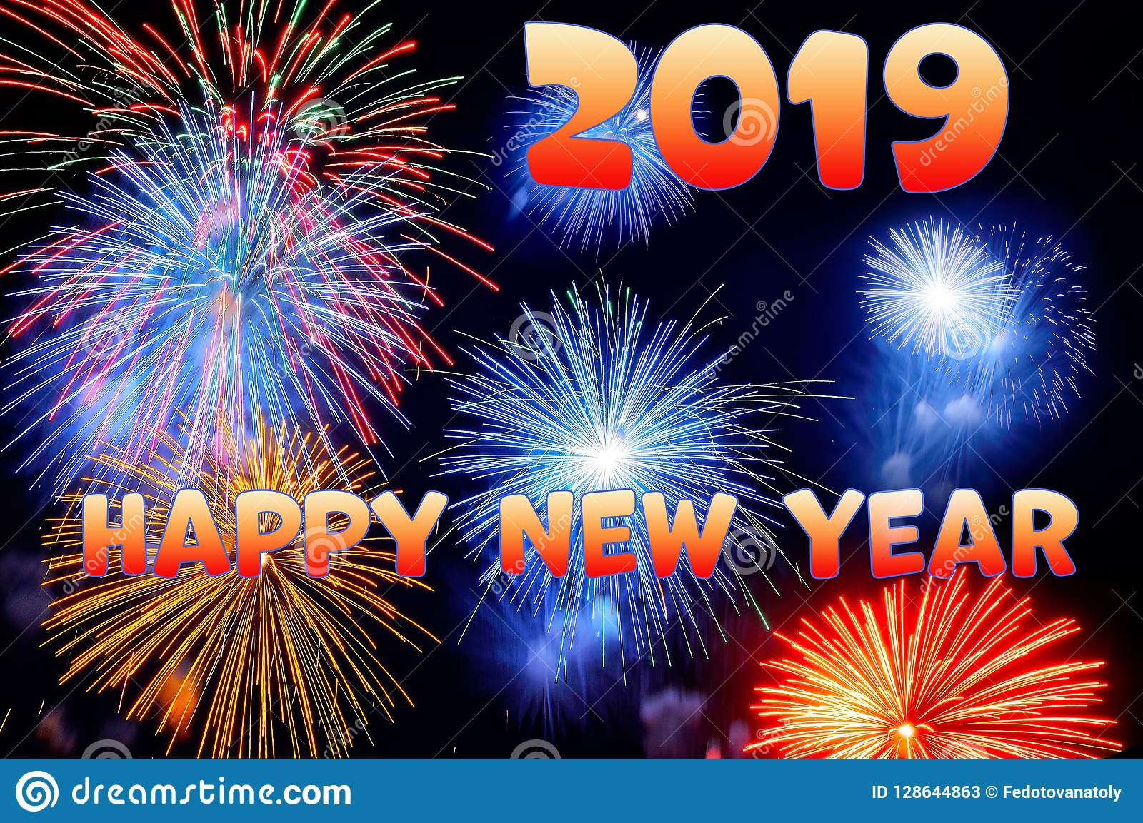 Orange Letters Happy New Year 2019 And Flashes Of Fireworks Stock
