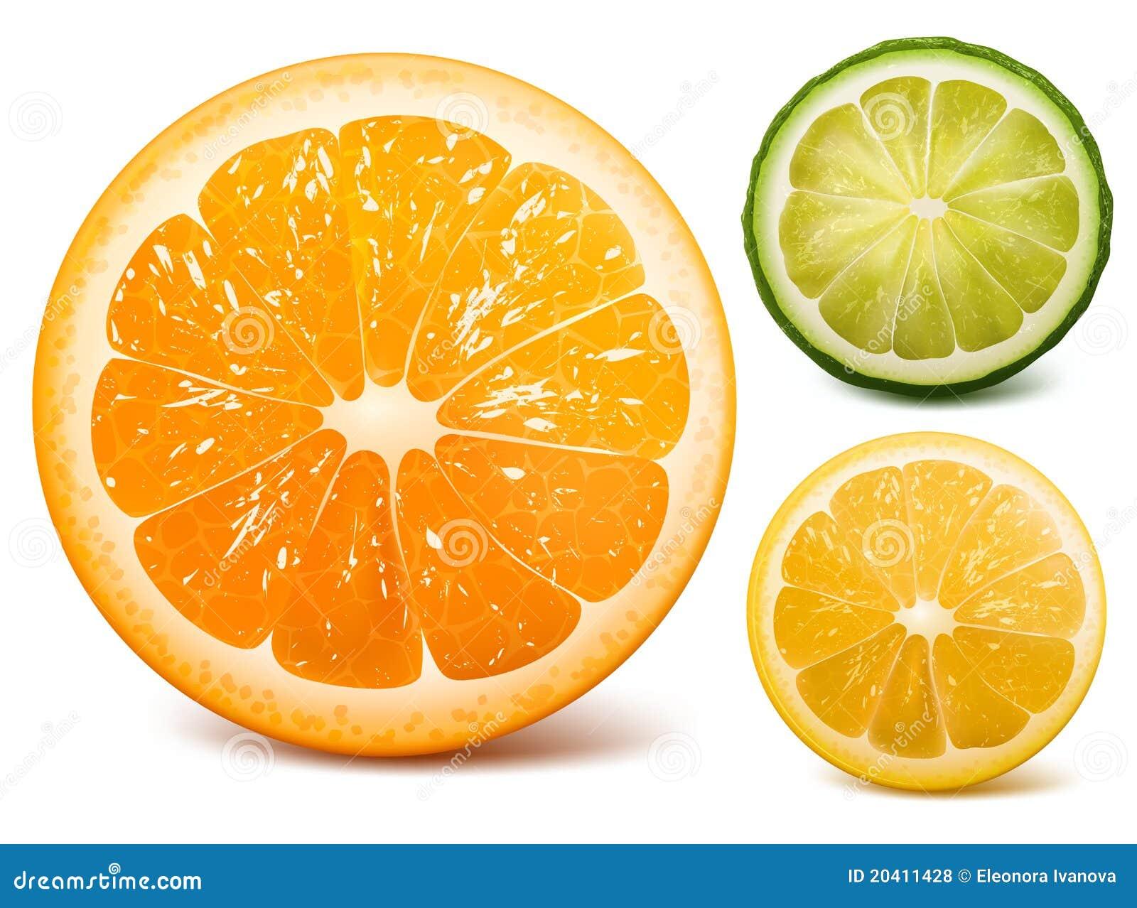Orange, lime and lemon.